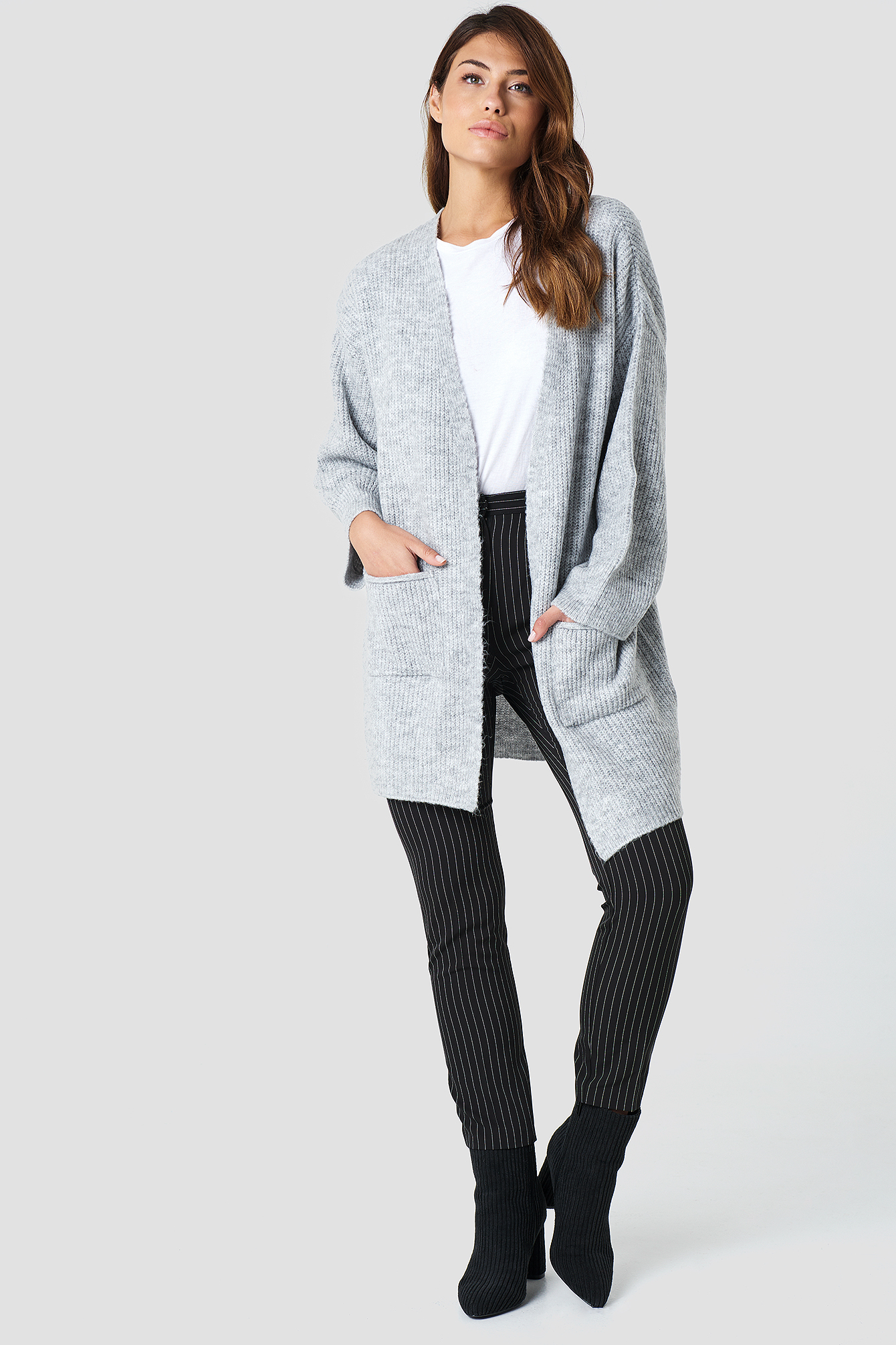 Grey Front Pocket Knitted Cardigan