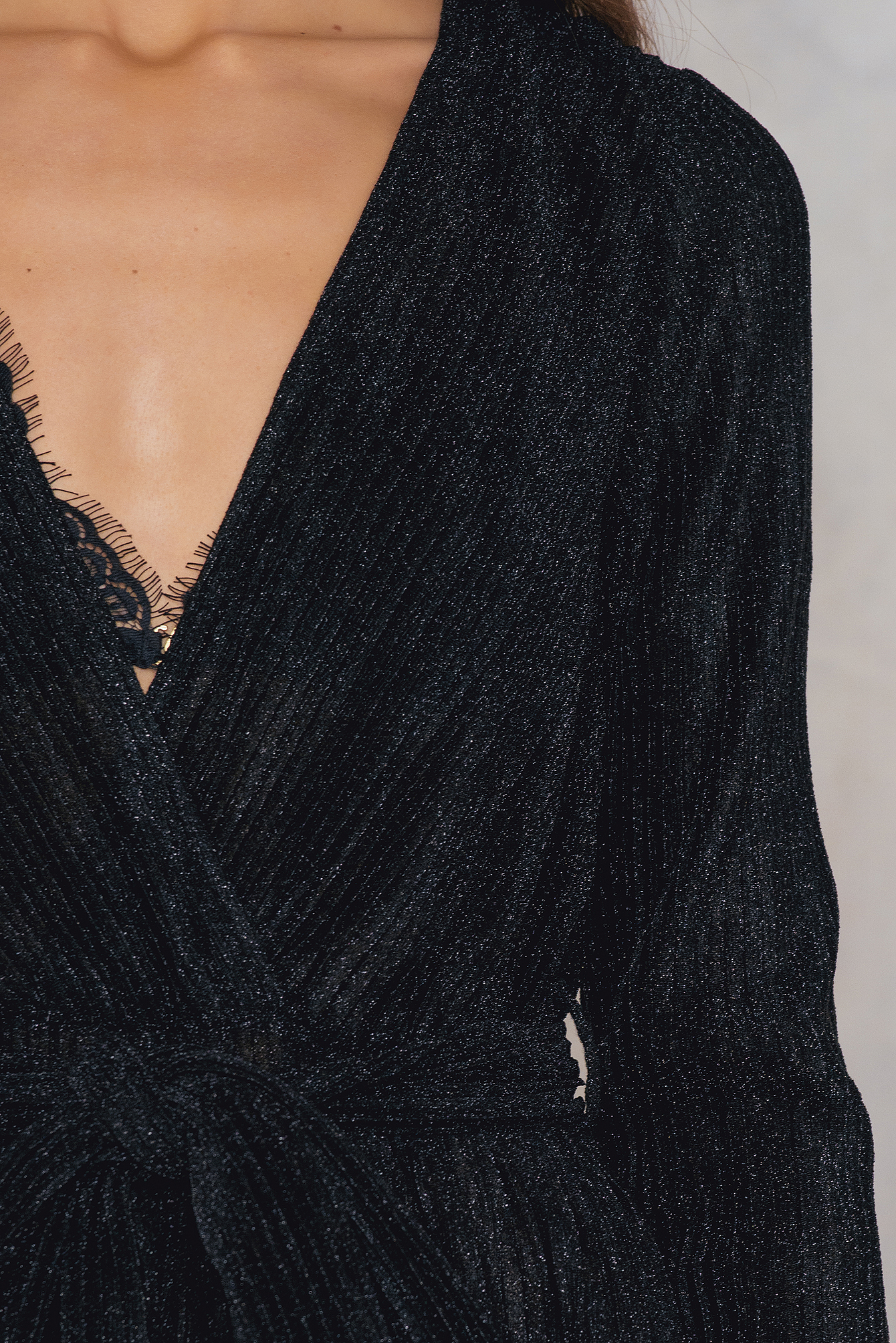 Black Glittery Deep Neck Jumpsuit