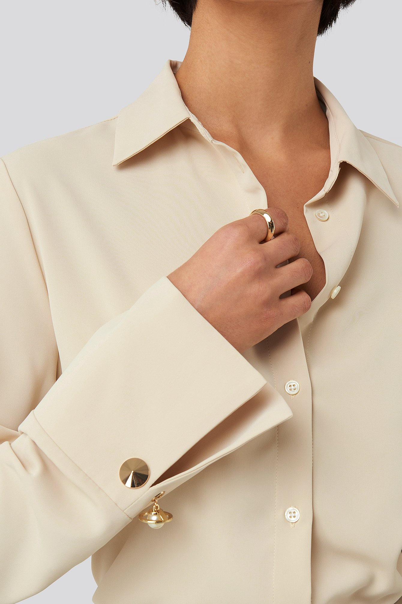 Sand Gold Detail Blouse