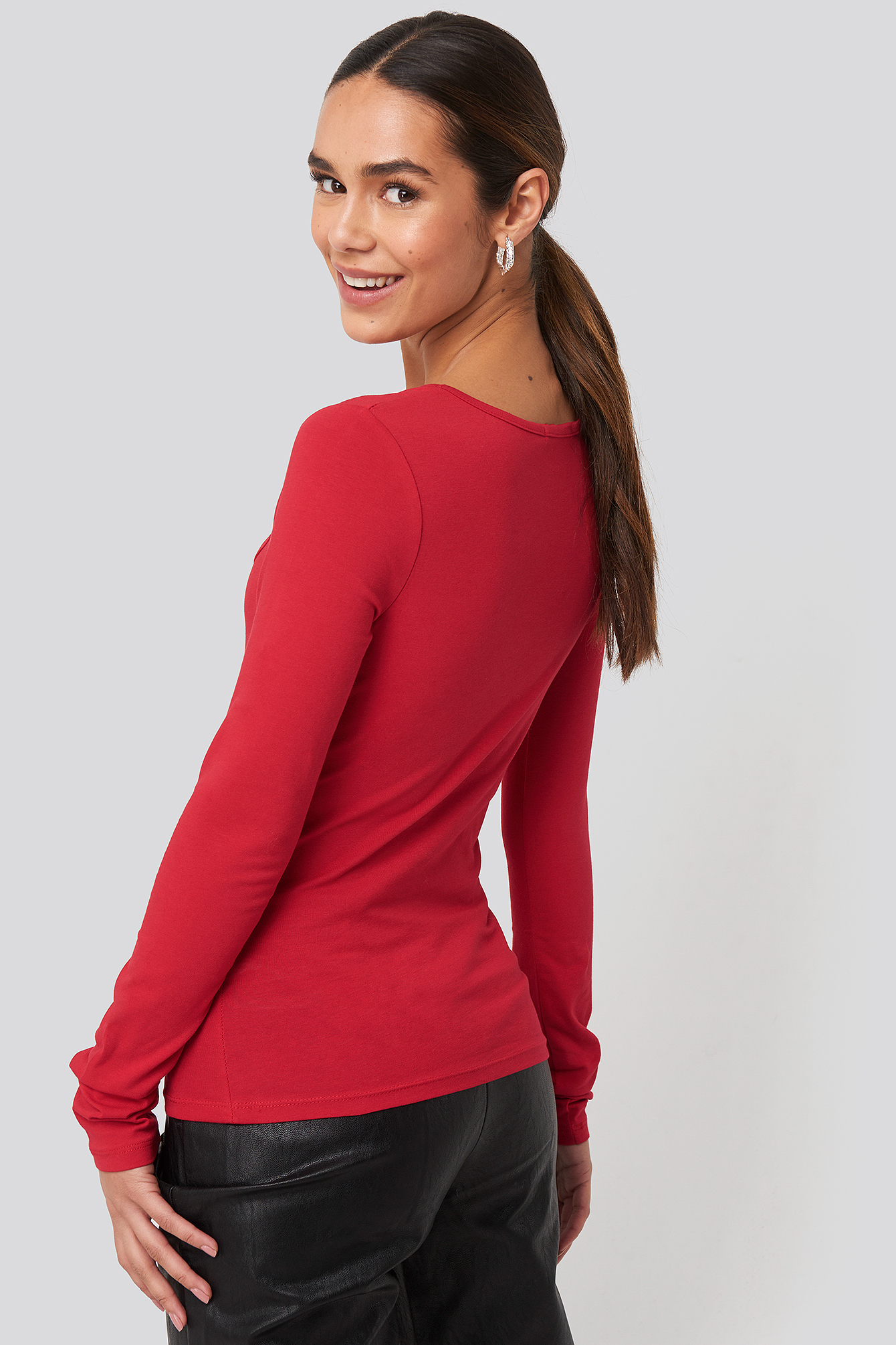 Red Heart Neckline Fitted Top