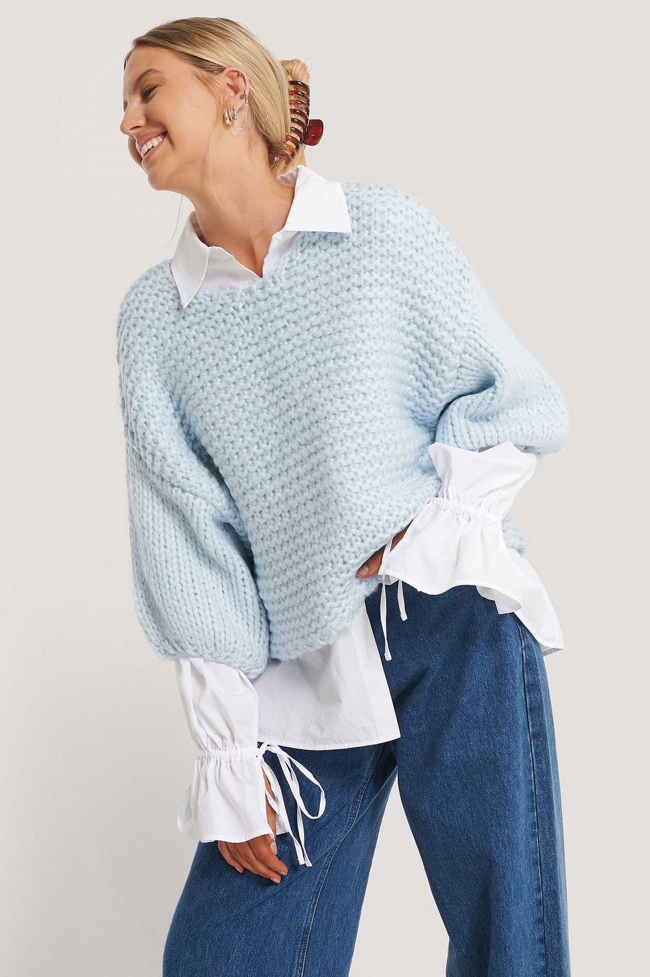 Blue Heavy Knitted Short Sleeve Sweater