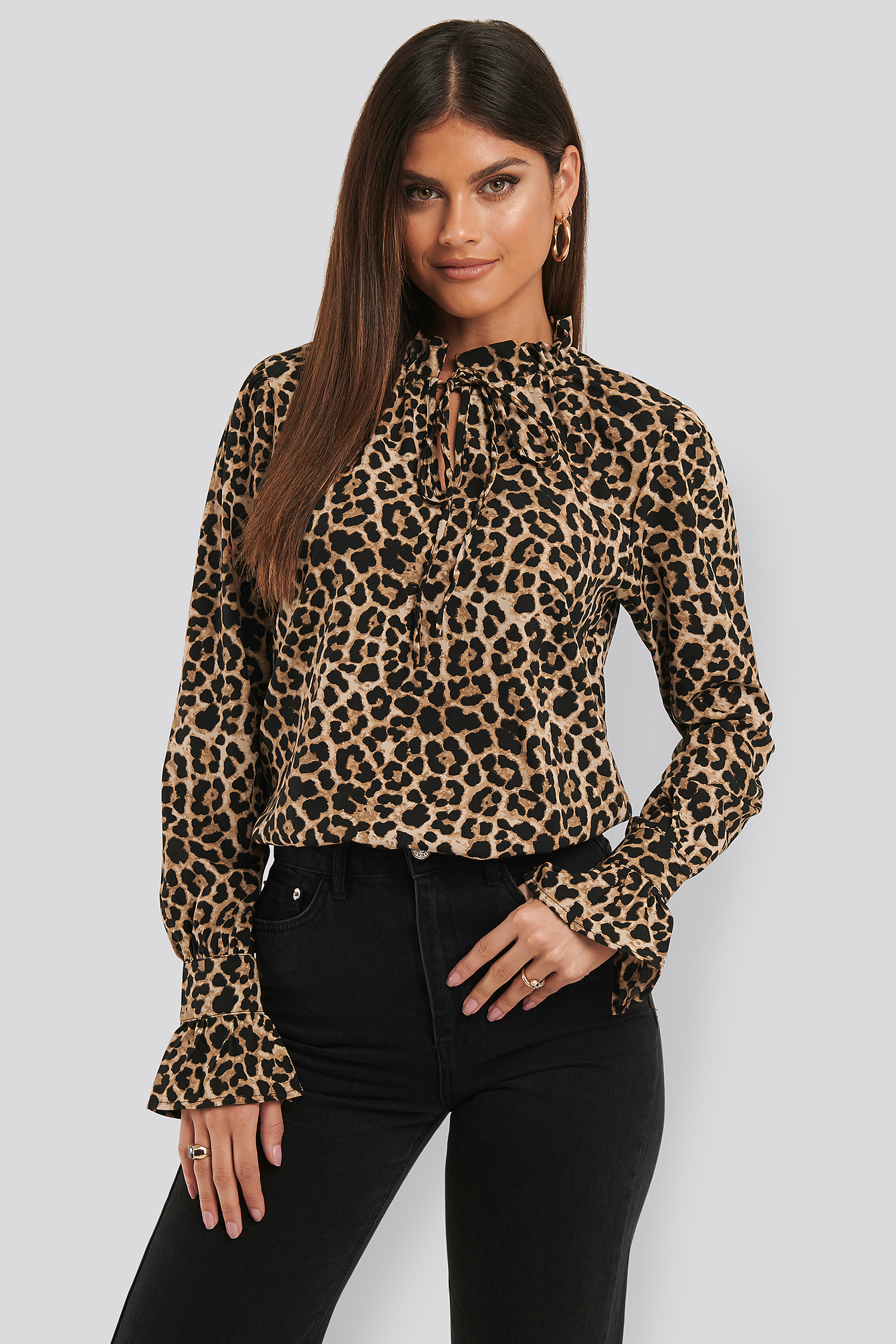 Leoprint High Neck Leo Blouse