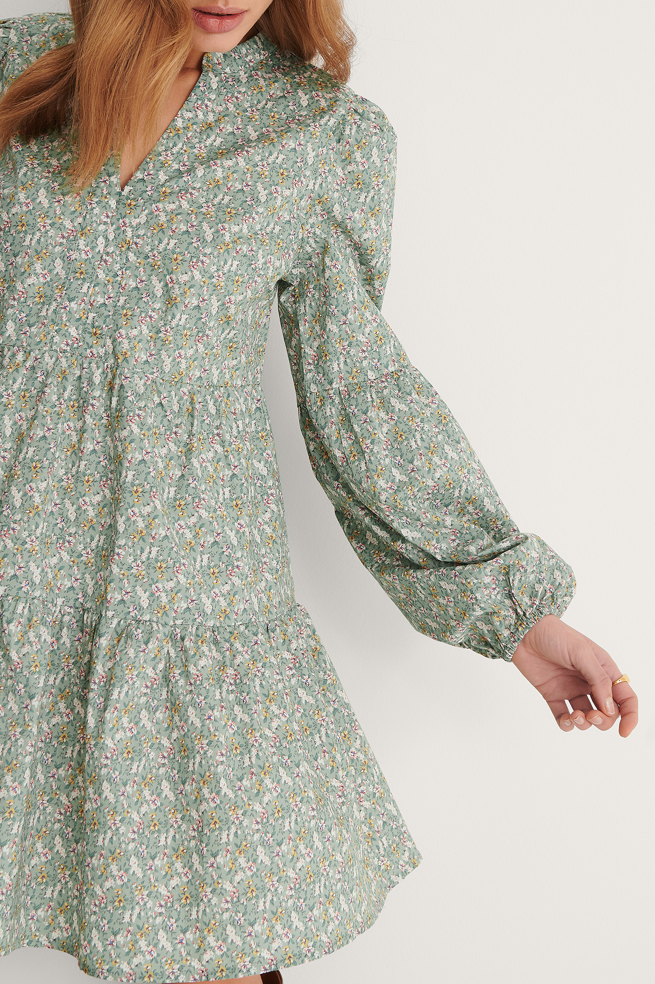 Green Flower Robe Mini