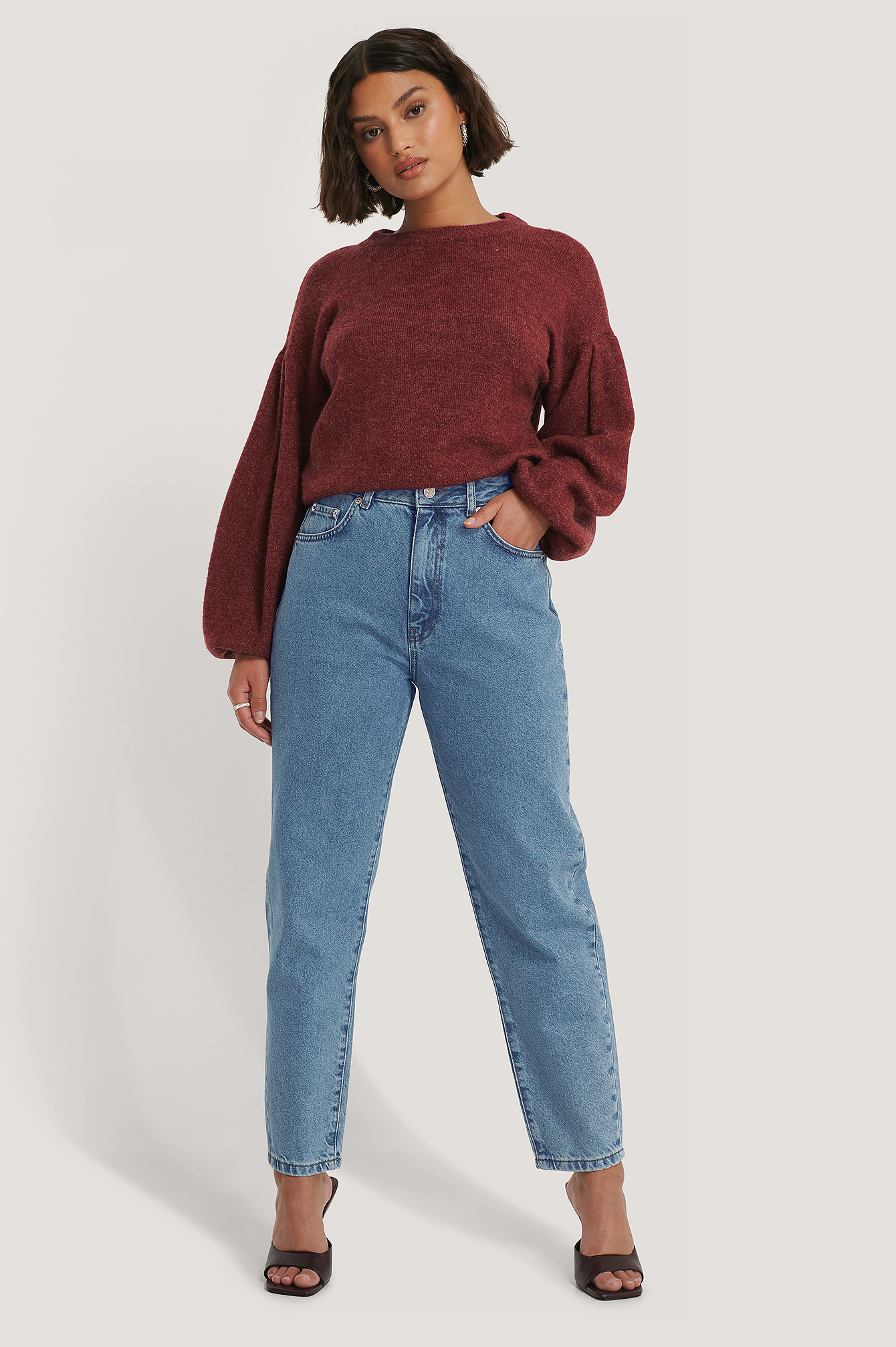 Mid Blue Biologique Jean Mom Coupe Ample