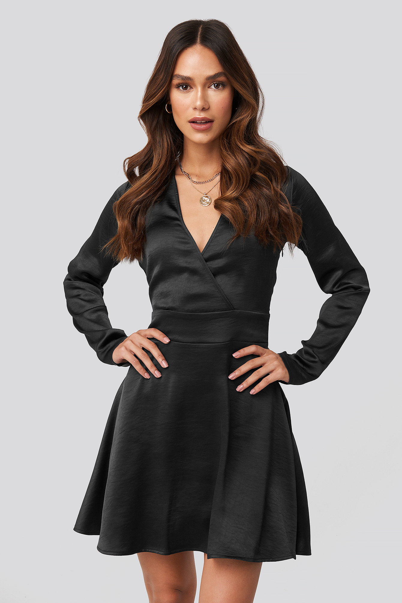 Black Mini Satin Dress