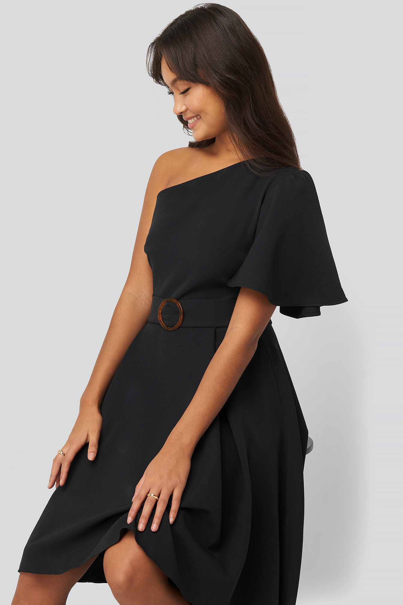Black One Shoulder Belted Midi Dress