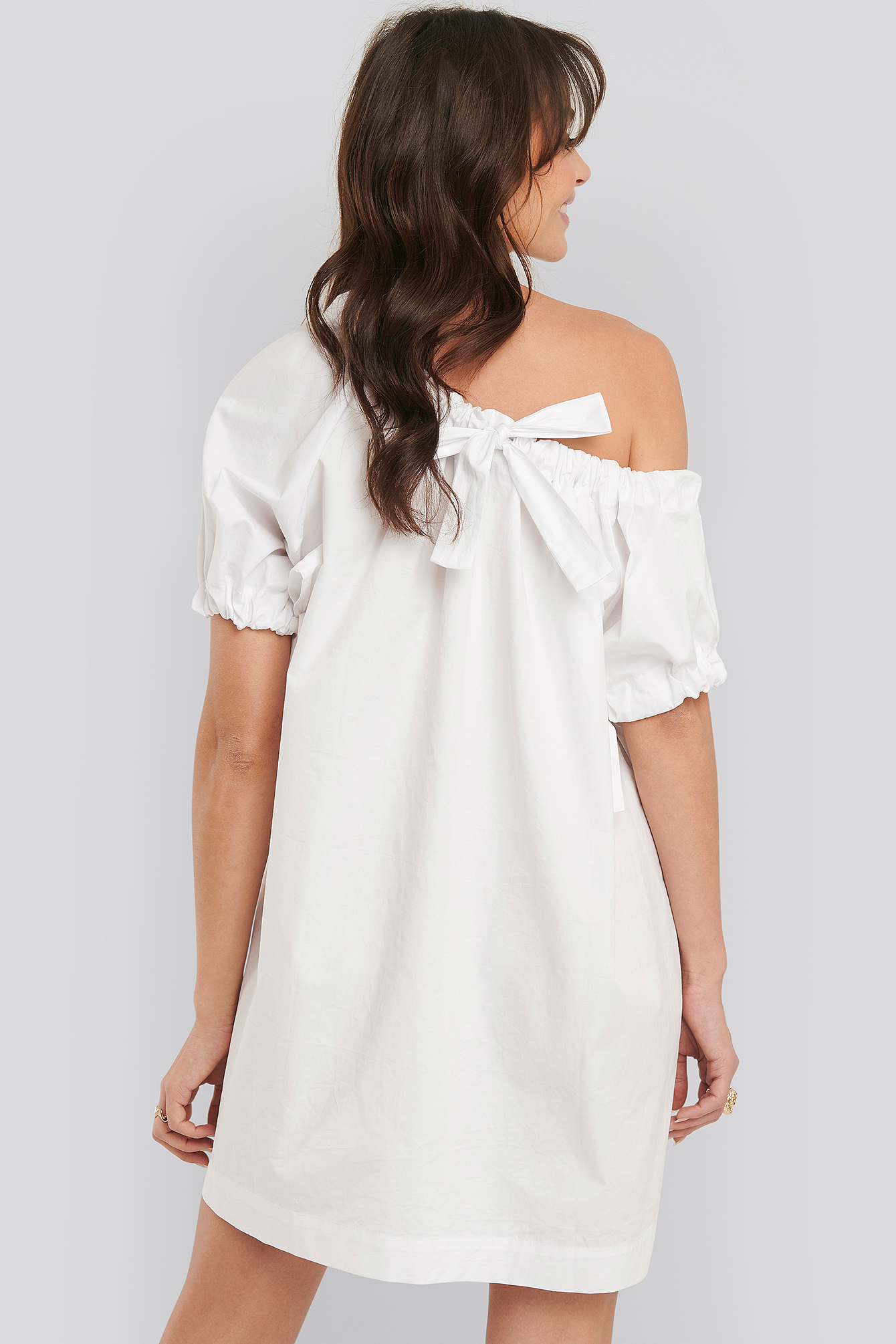 White One Shoulder Cotton Dress
