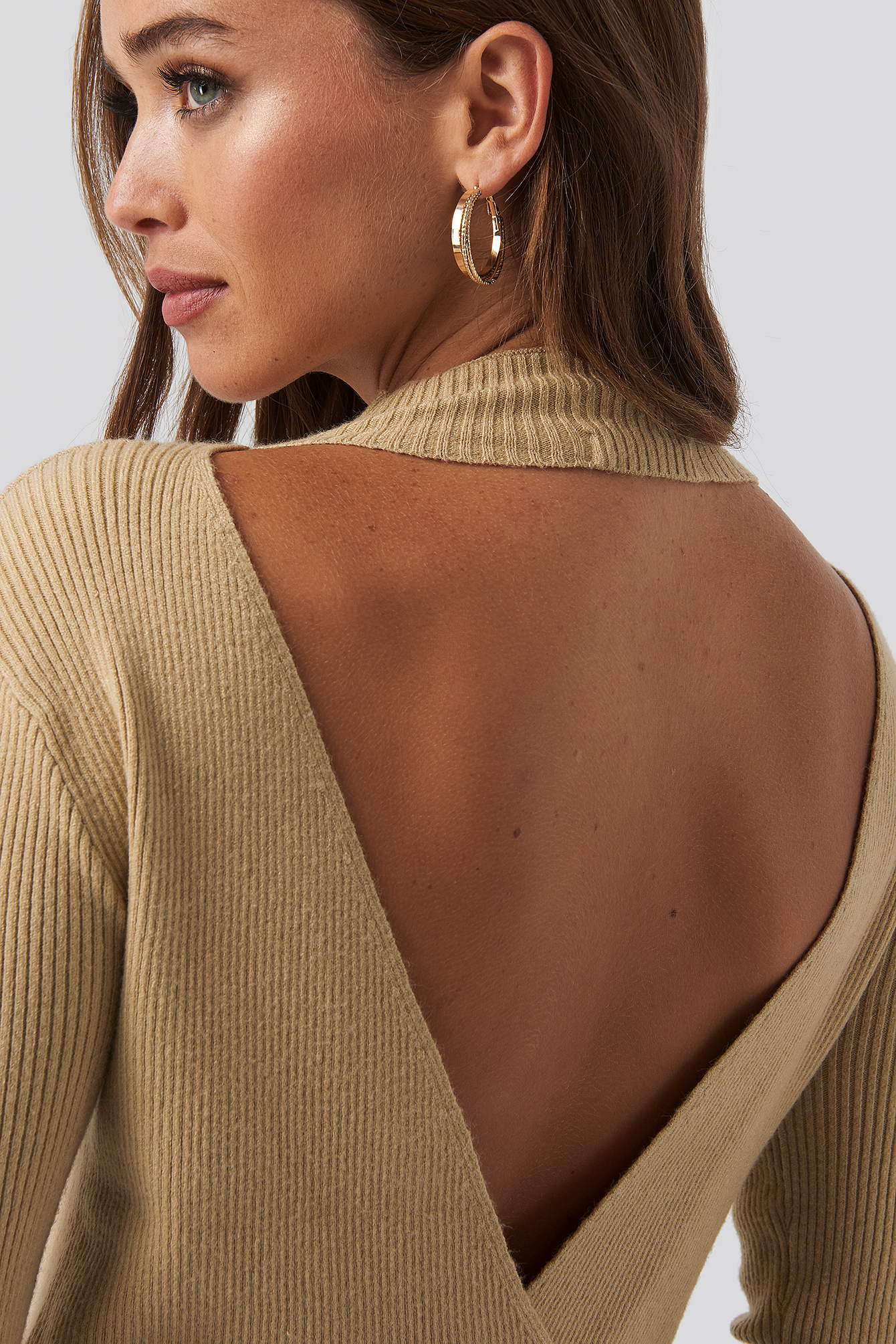 Light Beige Open Back Overlap Knitted Sweater