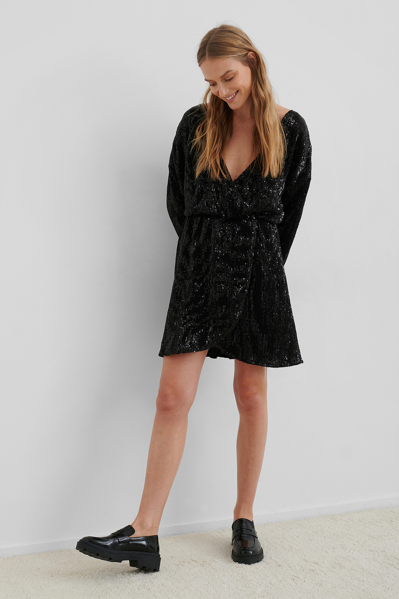 Black Overlap Sequin Mini Dress