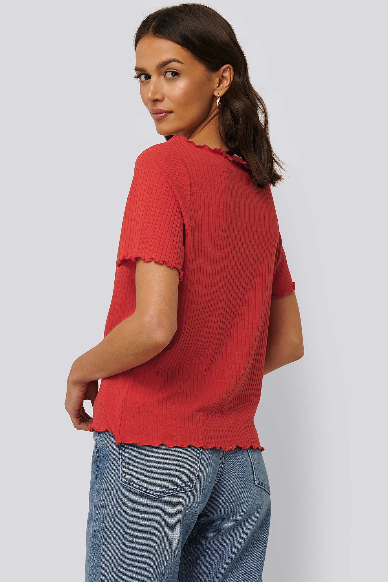 Red Oversized Babylock Ribbed Tee