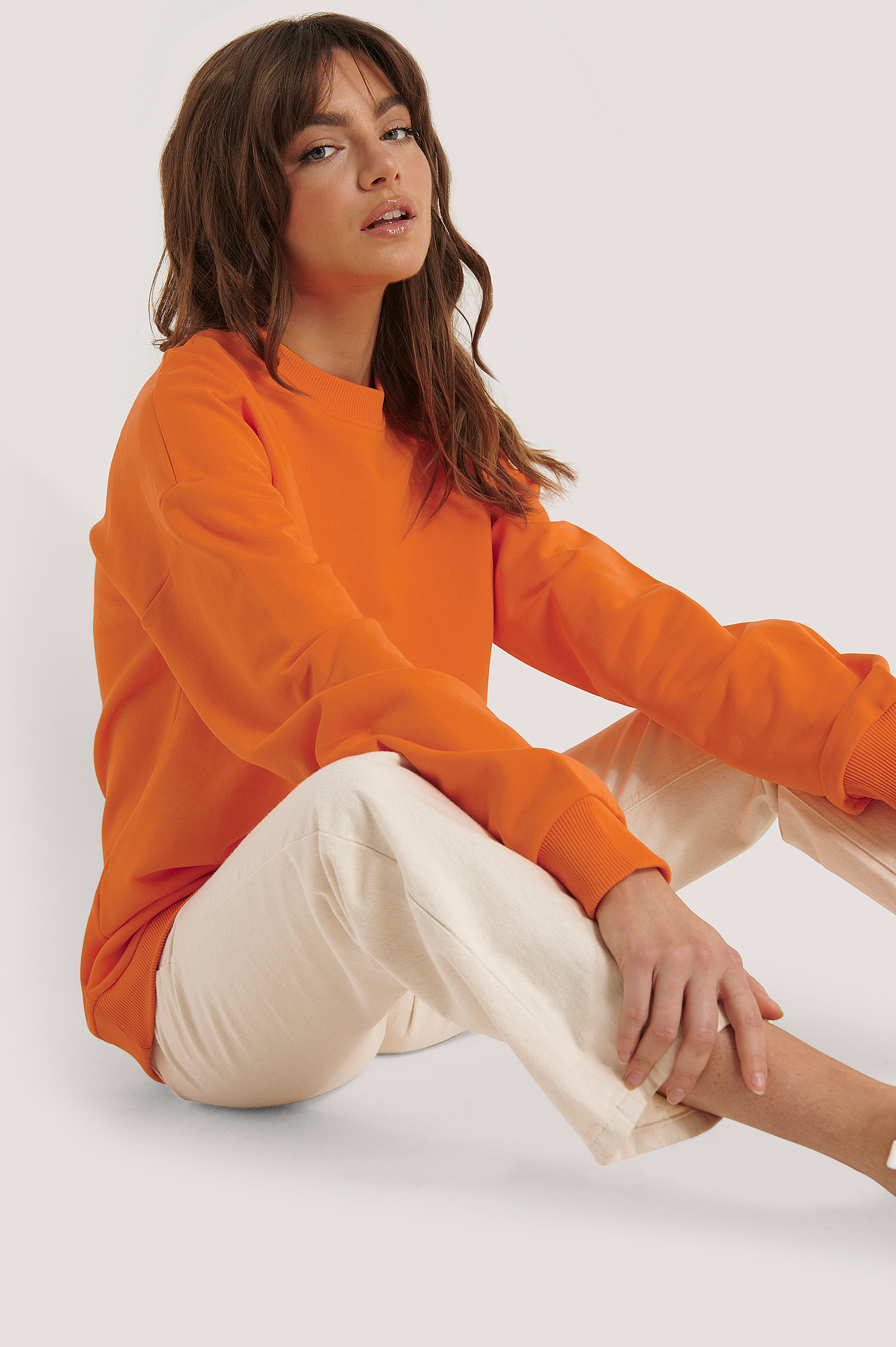 Orange Oversized Crewneck Sweatshirt