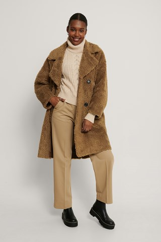 Brown Manteau Long En Peluche