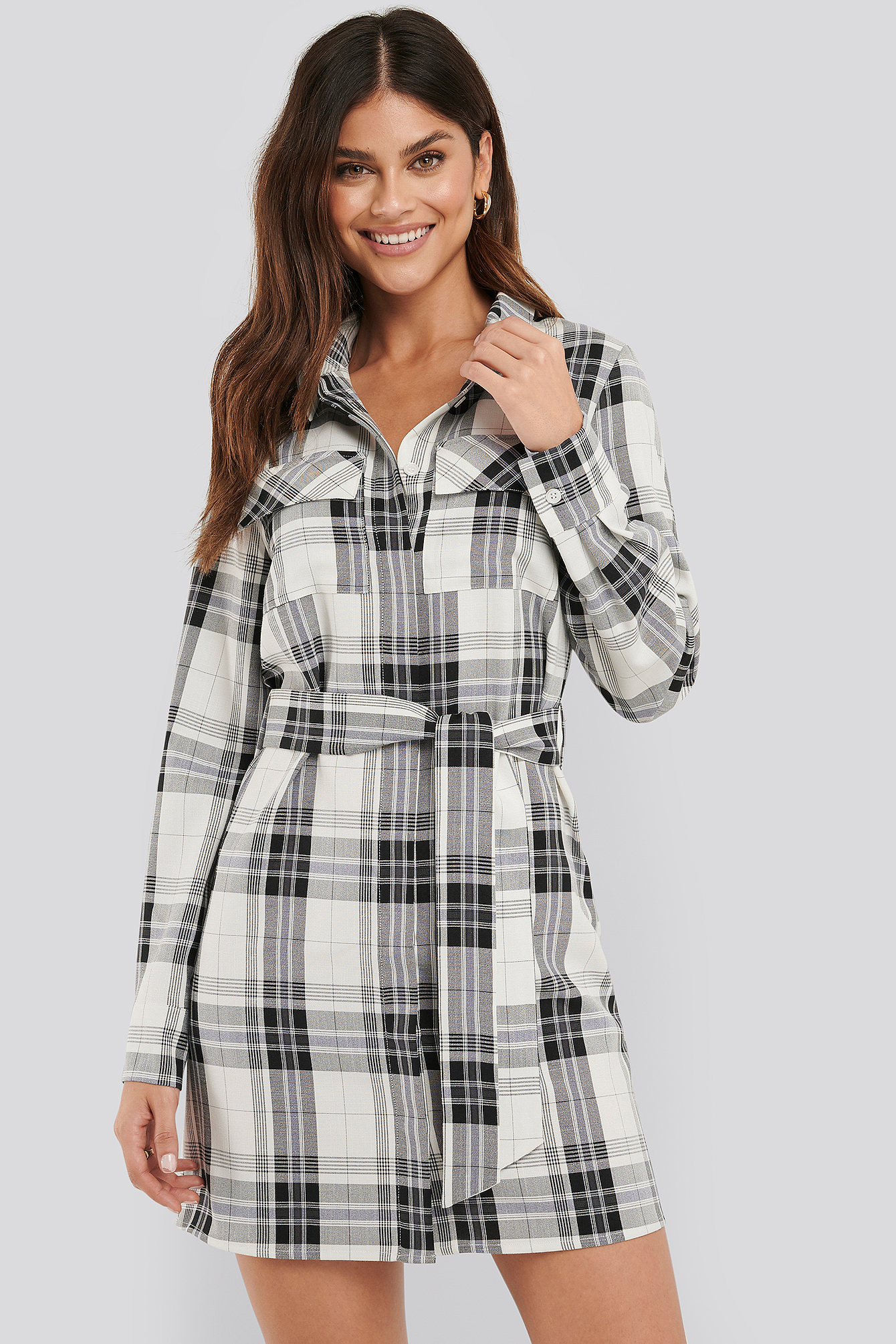 Check Plaid Belted Shirt Dress
