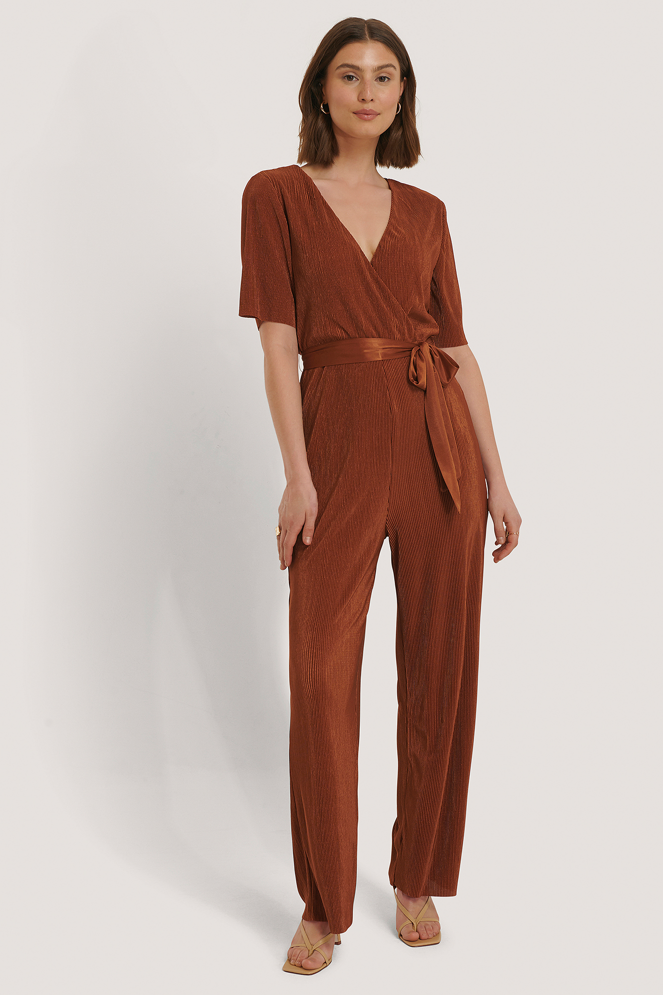 Rust Pleated Tie Jumpsuit