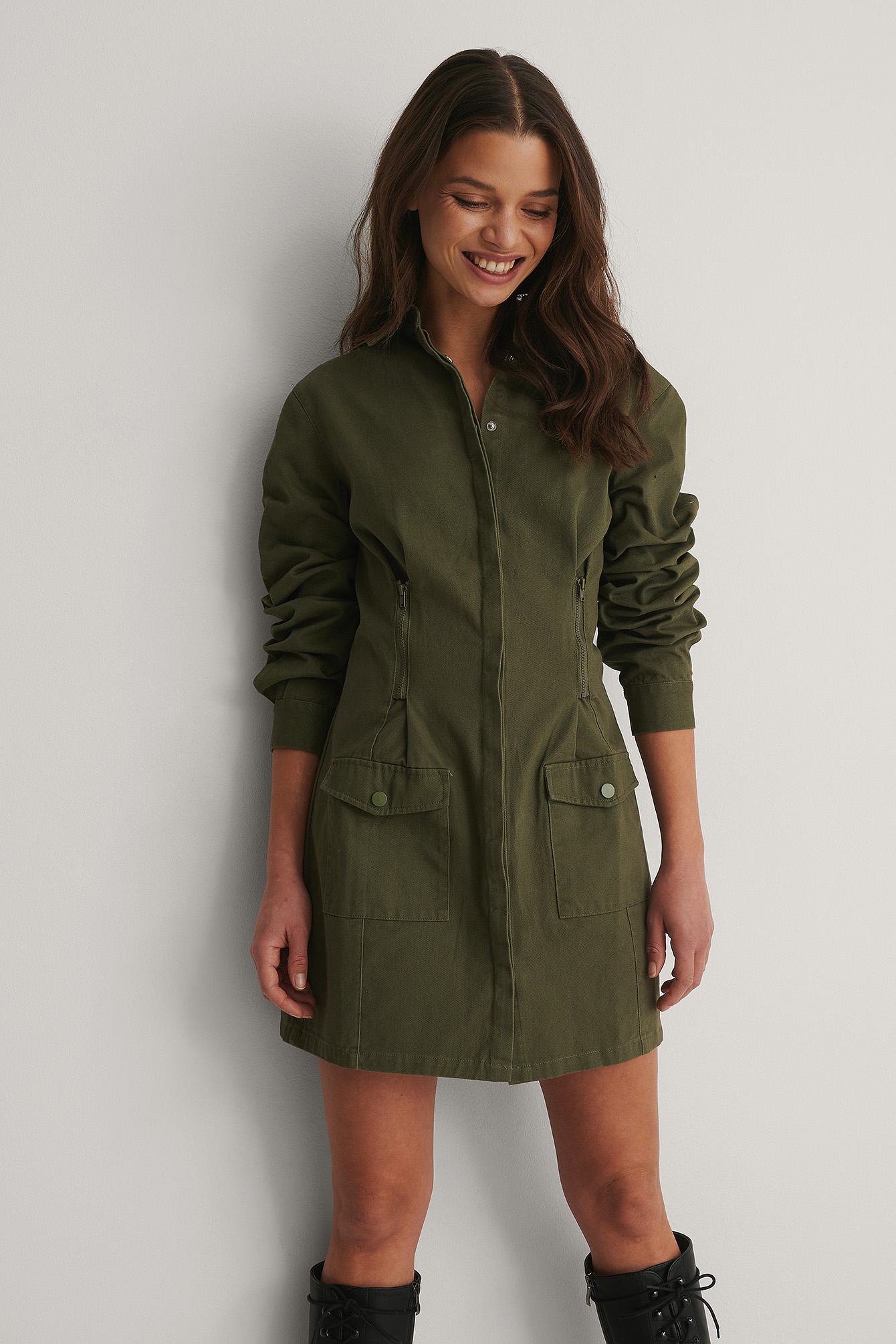Dark Green Robe Mini Avec Poche
