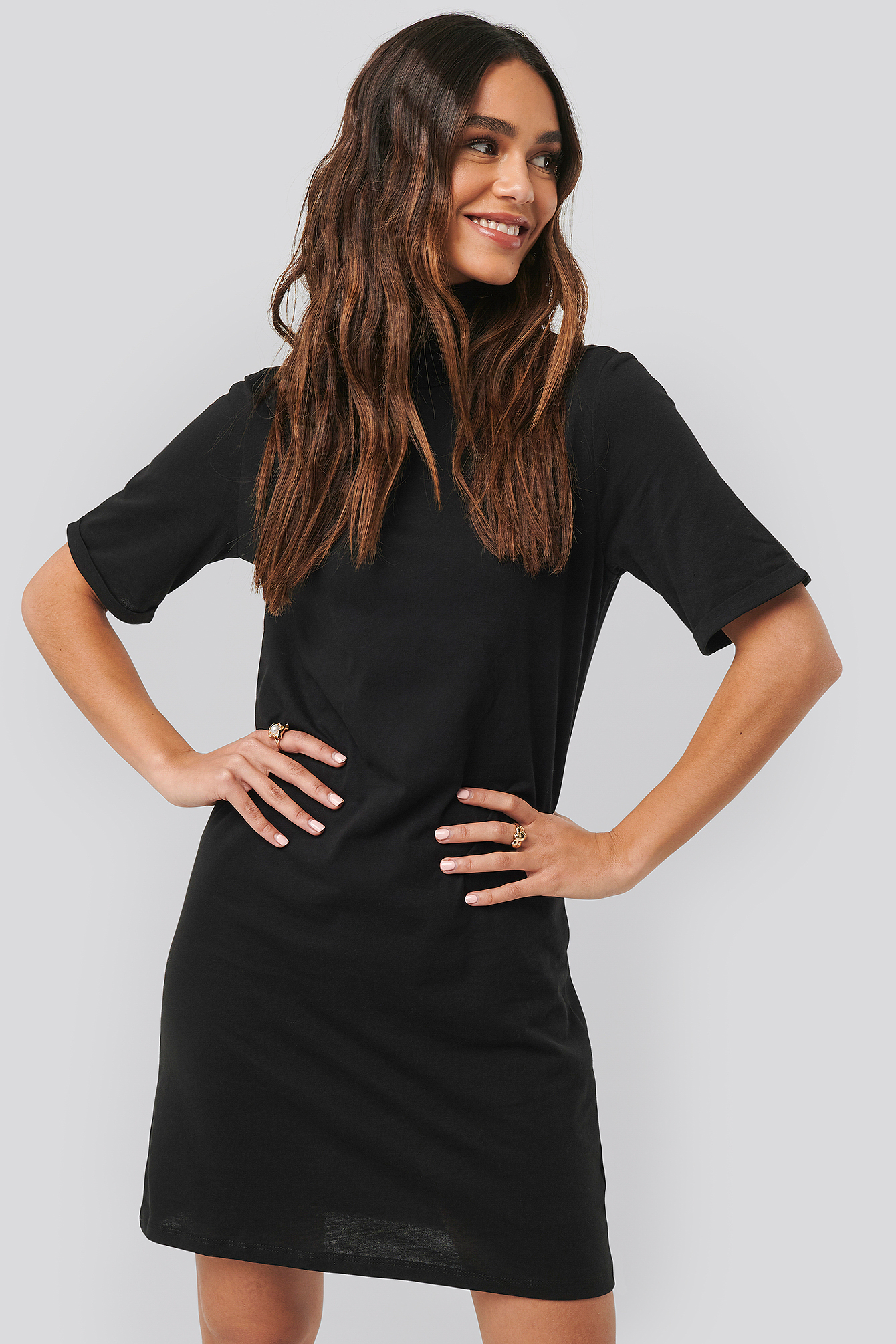 Black Polo Neck T-shirt Dress