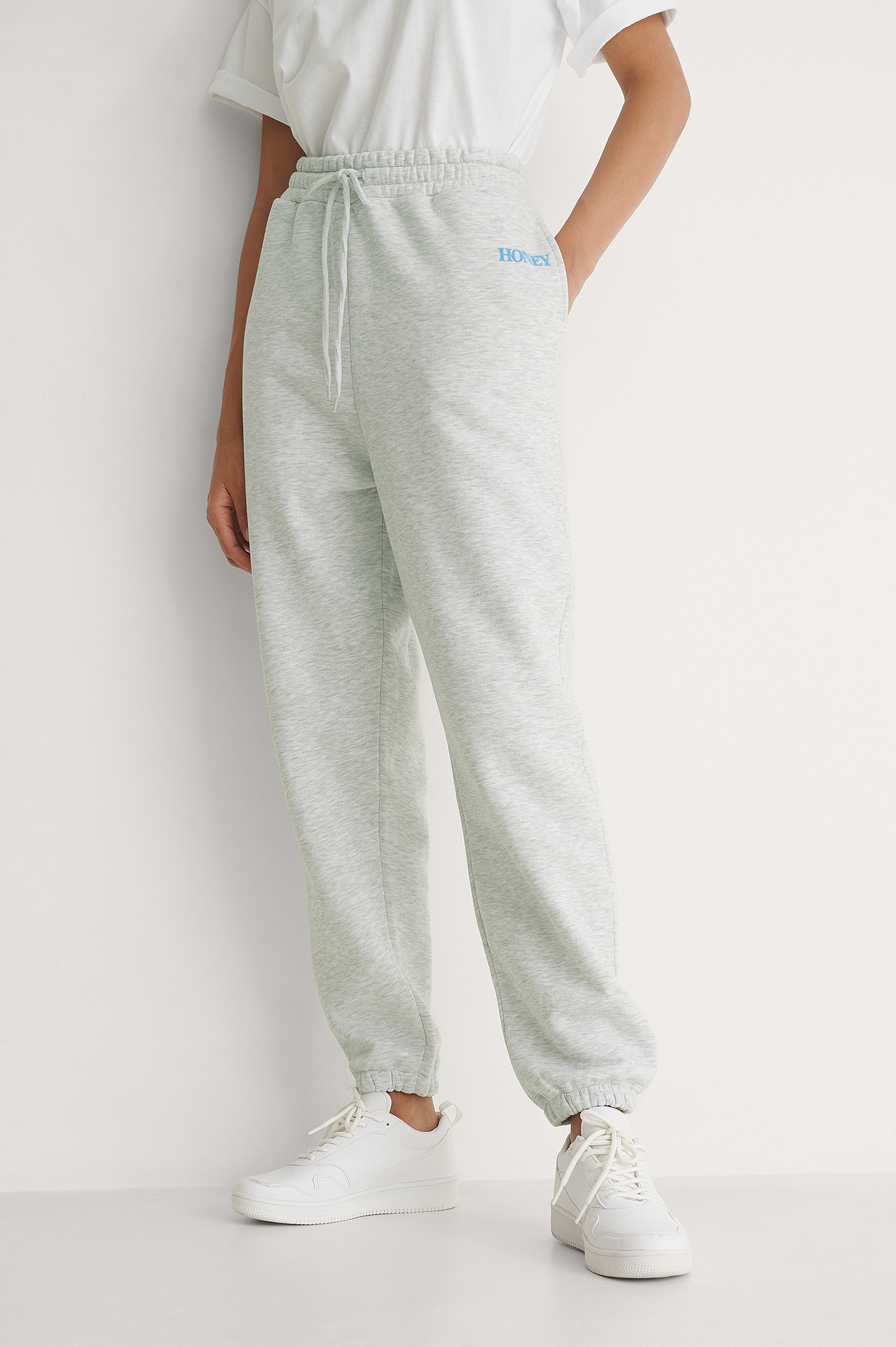 Grey Melange Pantalon De Survêtement