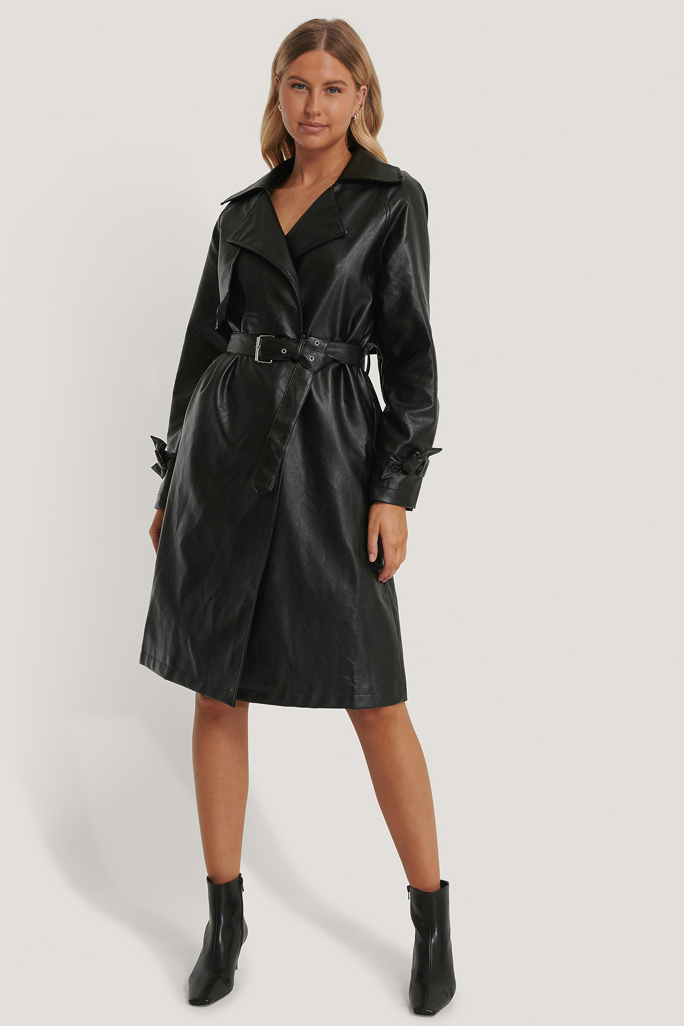 Black Trench En Faux Cuir