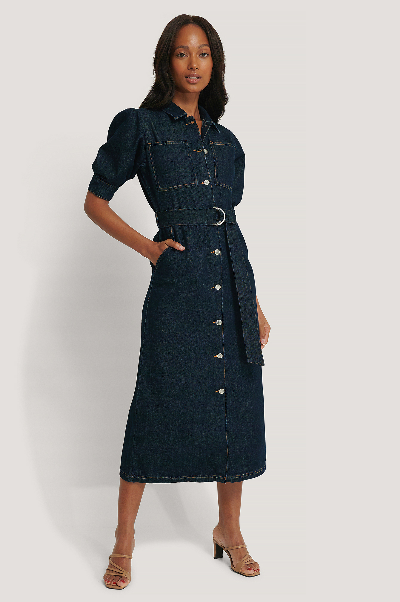 Dark Blue Puff Sleeve Belted Denim Dress