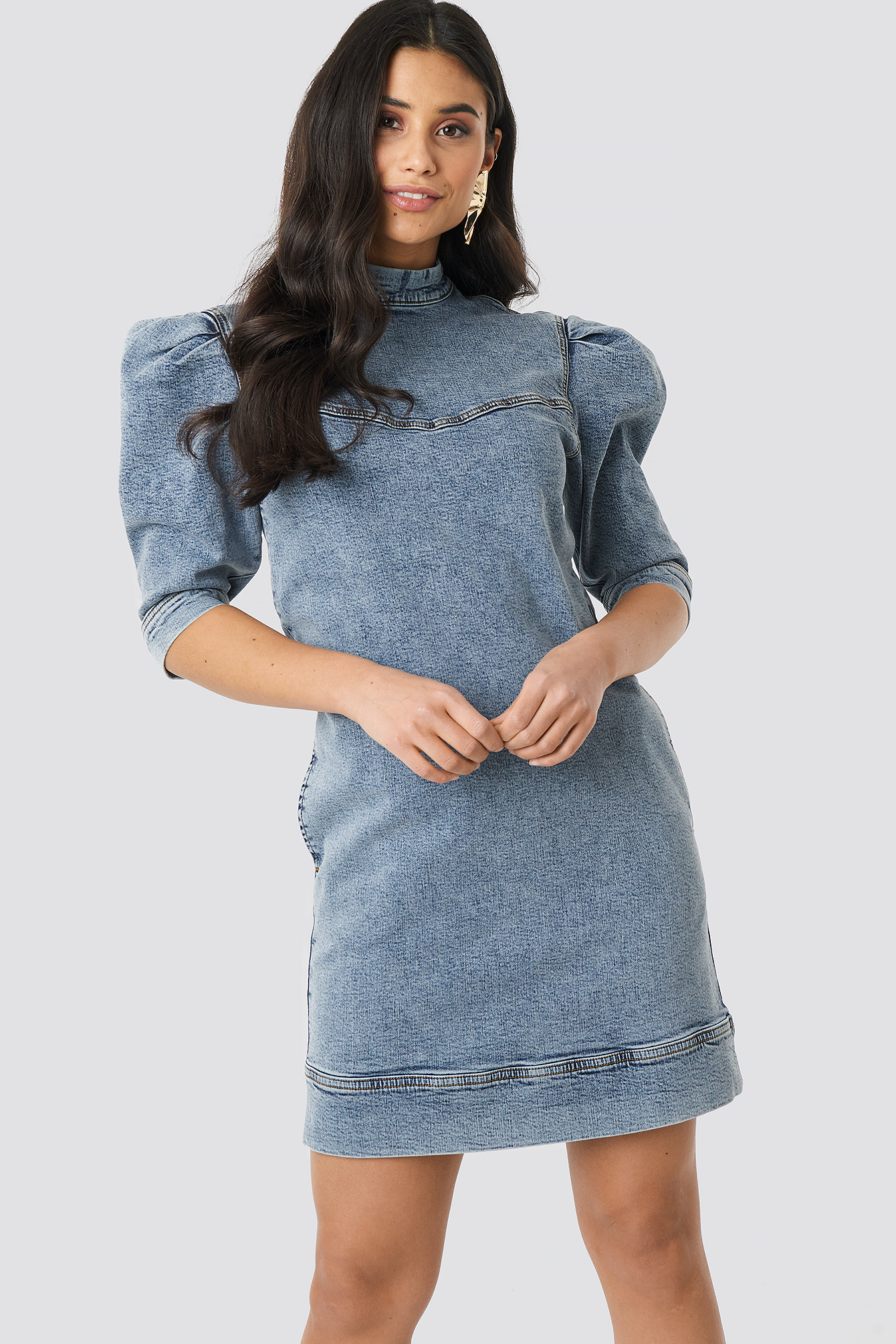 Light Blue Puff Sleeve Denim Mini Dress