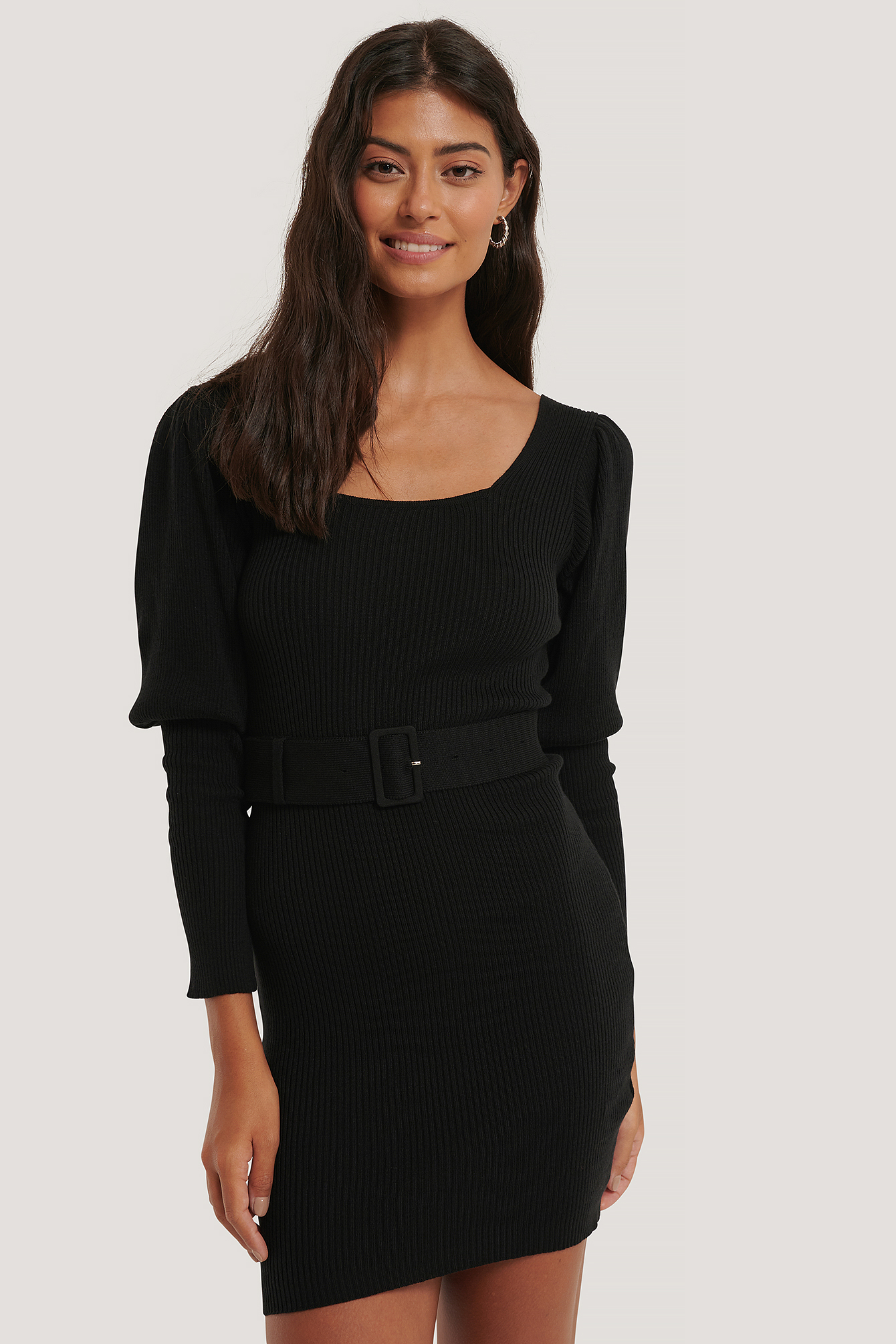 Black Puff Sleeve Knitted Dress