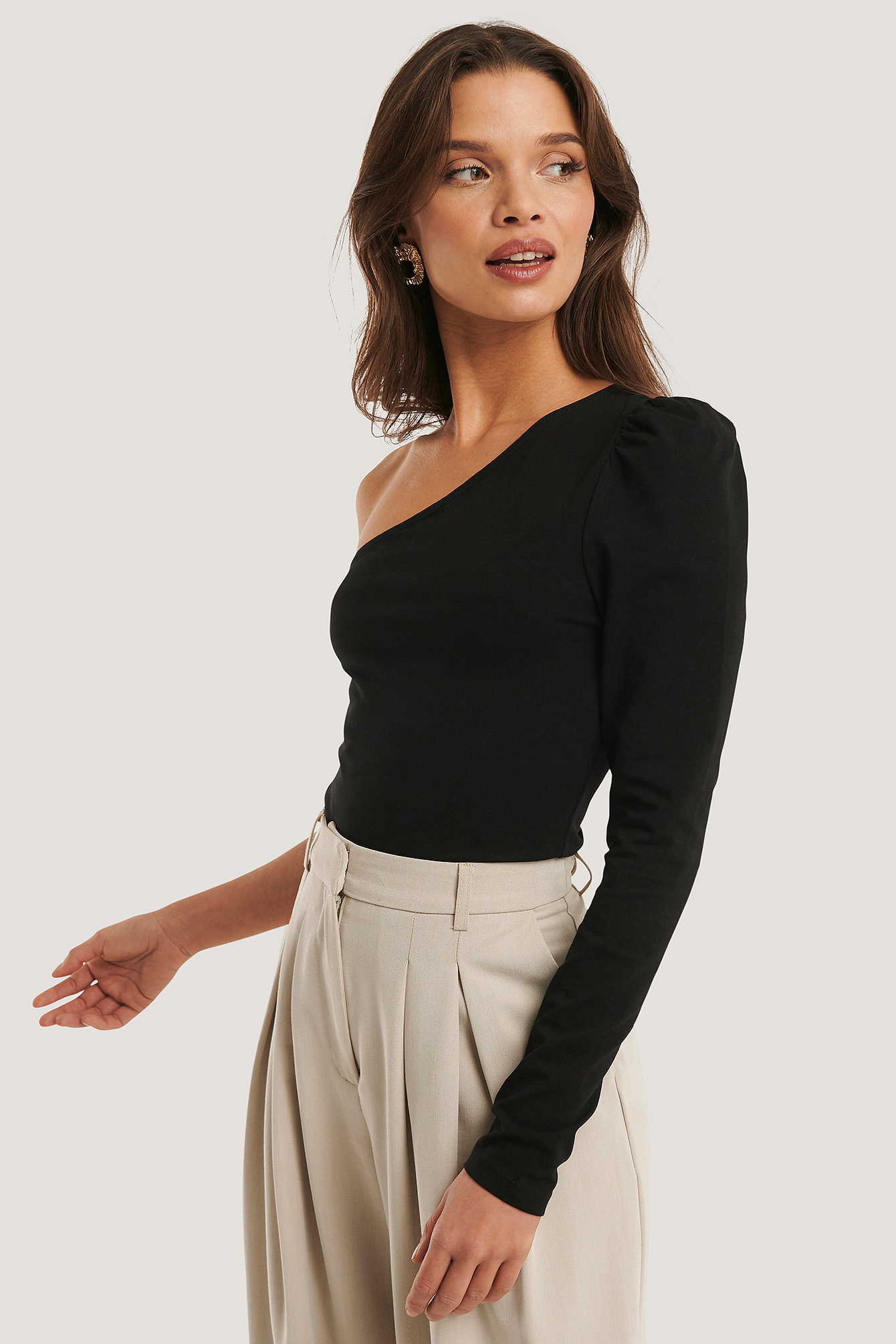 Black Puff Sleeve One Shoulder Top