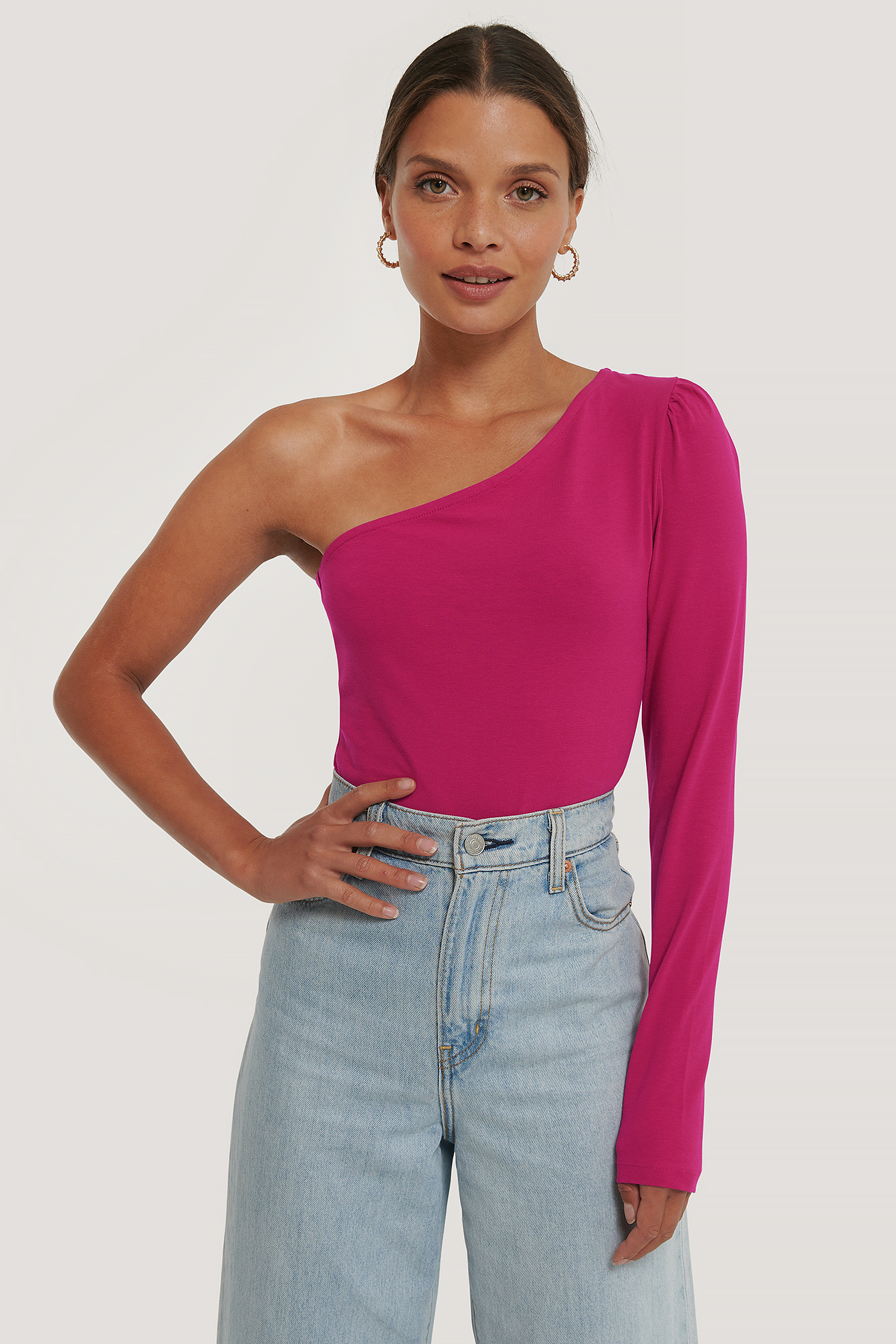 Fuchsia Puff Sleeve One Shoulder Top