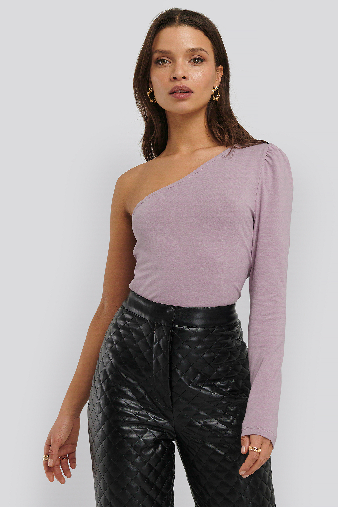 Dusty Purple Puff Sleeve One Shoulder Top