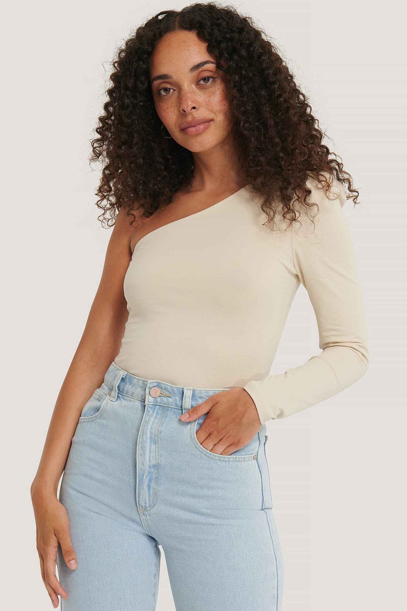 Dusty Light Beige Puff Sleeve One Shoulder Top