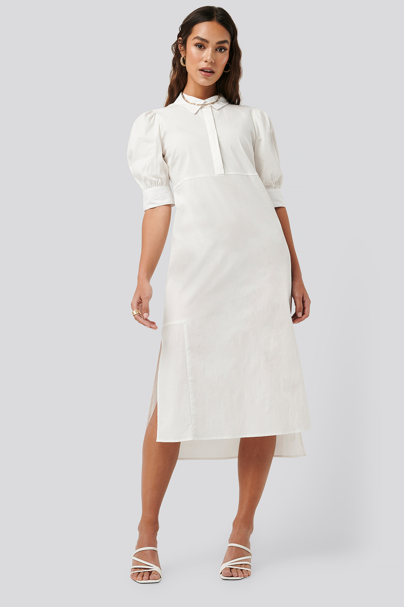 White Puff Sleeve Panel Dress
