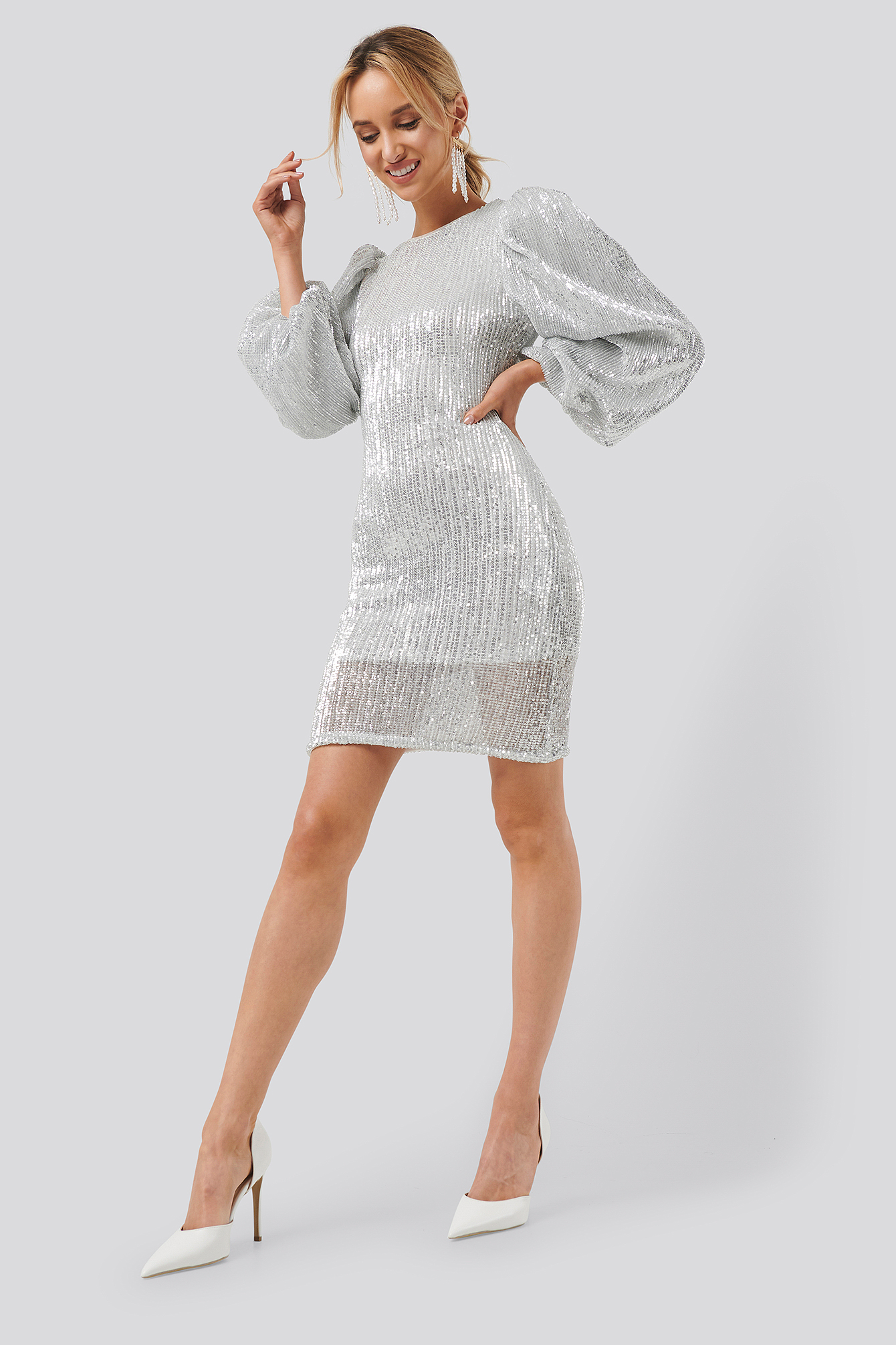 Silver Puff Sleeve Sequin Mini Dress