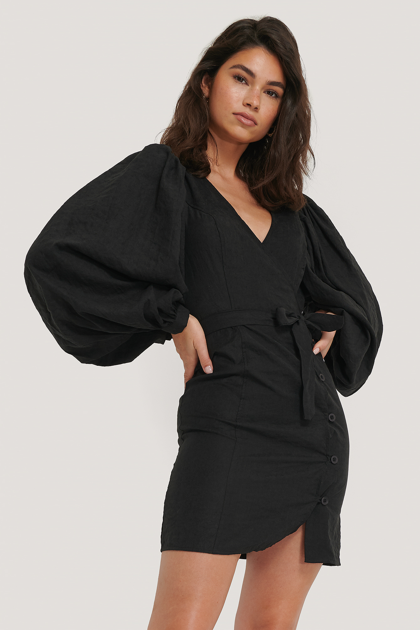 Black Puff Sleeve Tie Waist Dress