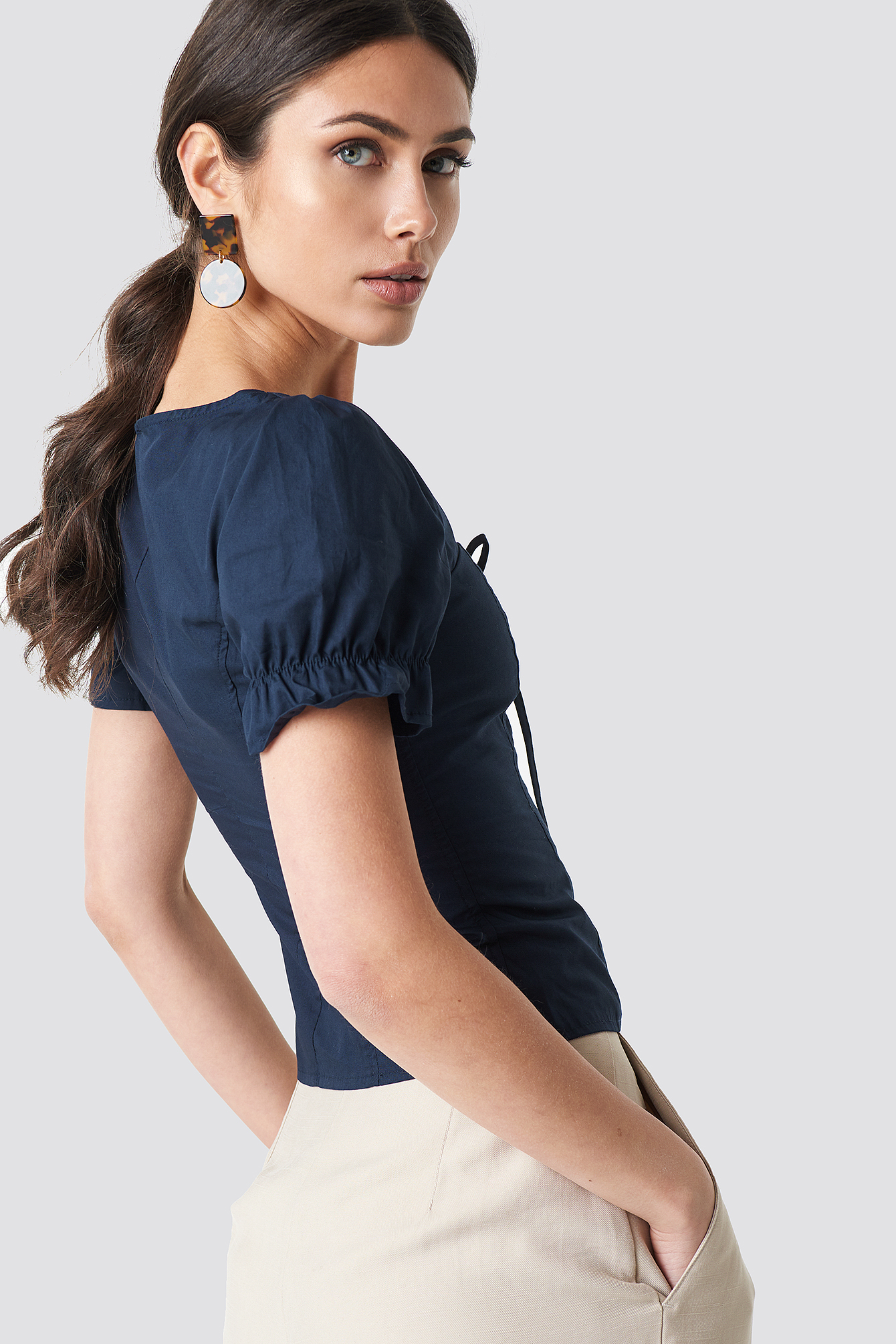 Dark Navy Puffy Shoulder Corset Top