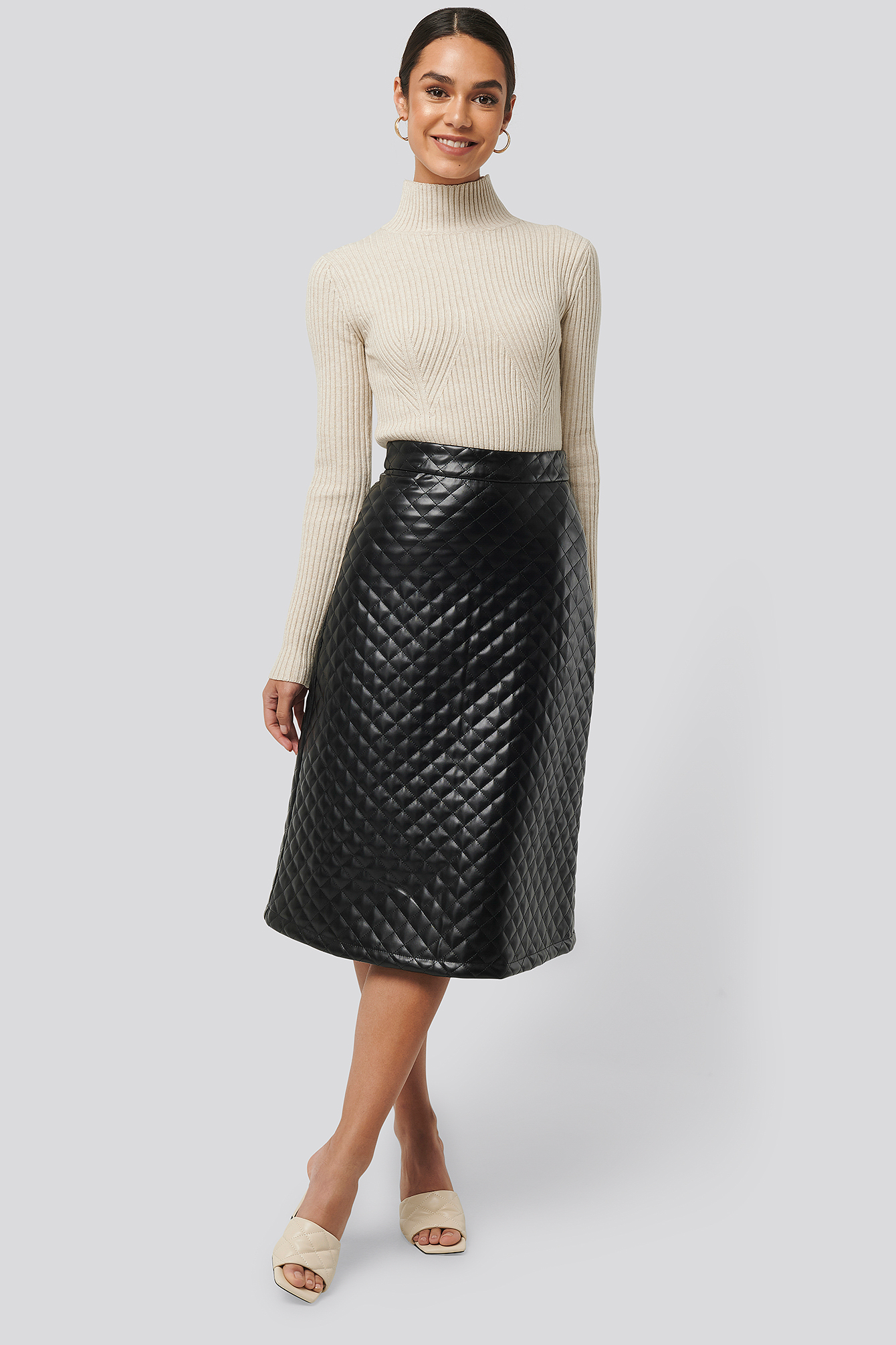 Black Quilted PU Midi Skirt