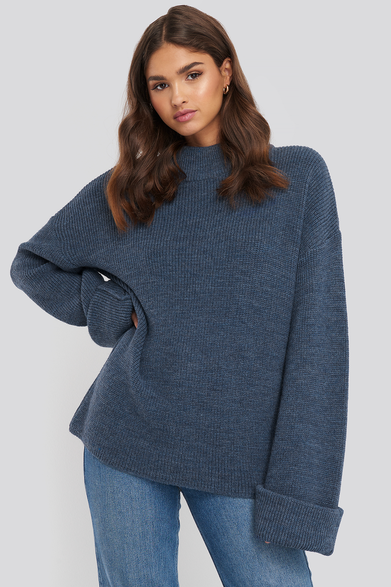 Blue Ribbed Knitted Turtleneck Sweater