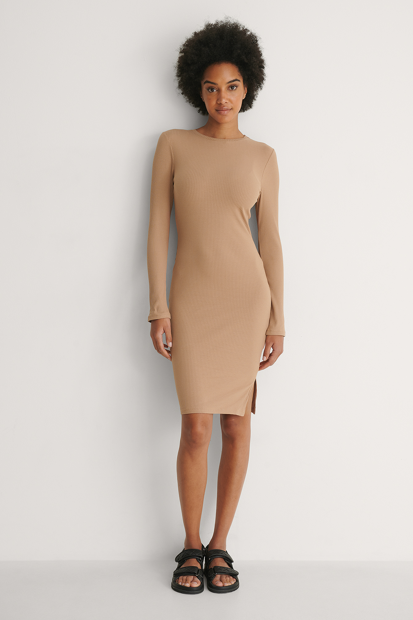 Beige Ribbed Long Sleeve Dress