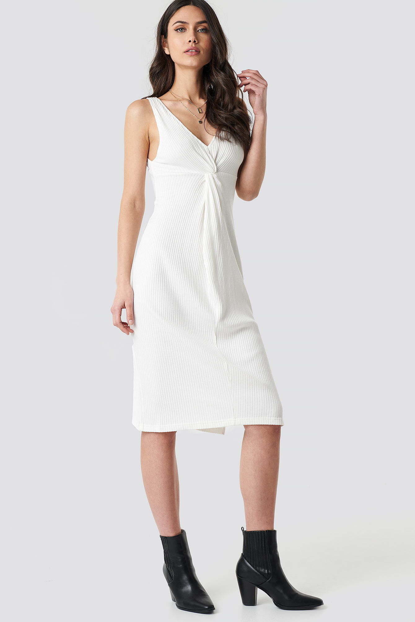 White Ribbed Twist Front Midi Dress