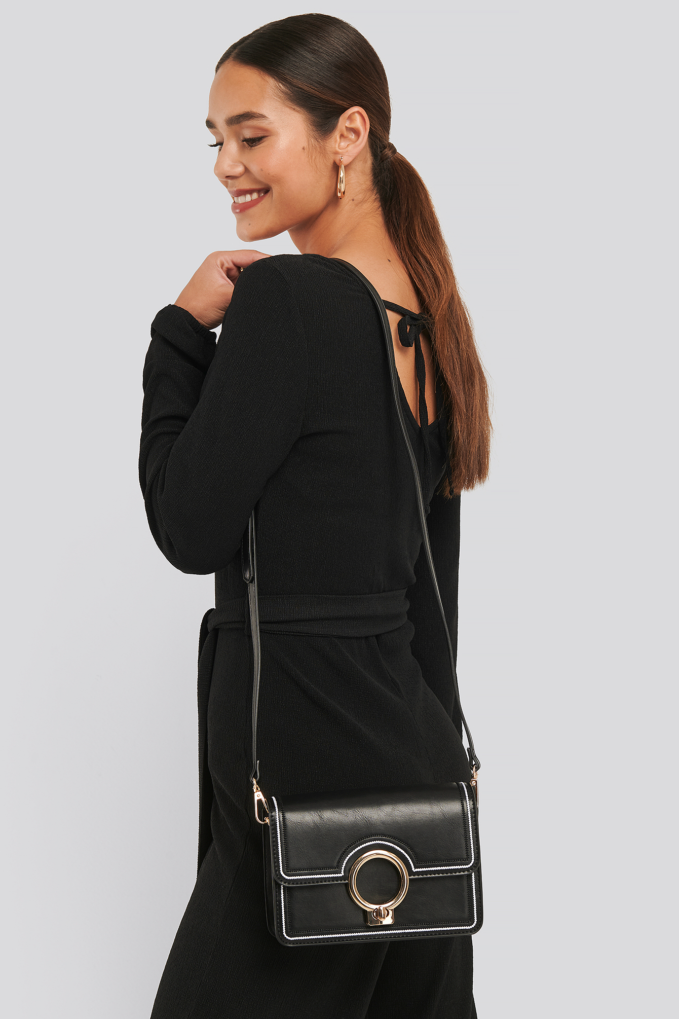 Black Ring Closure Crossbody Bag