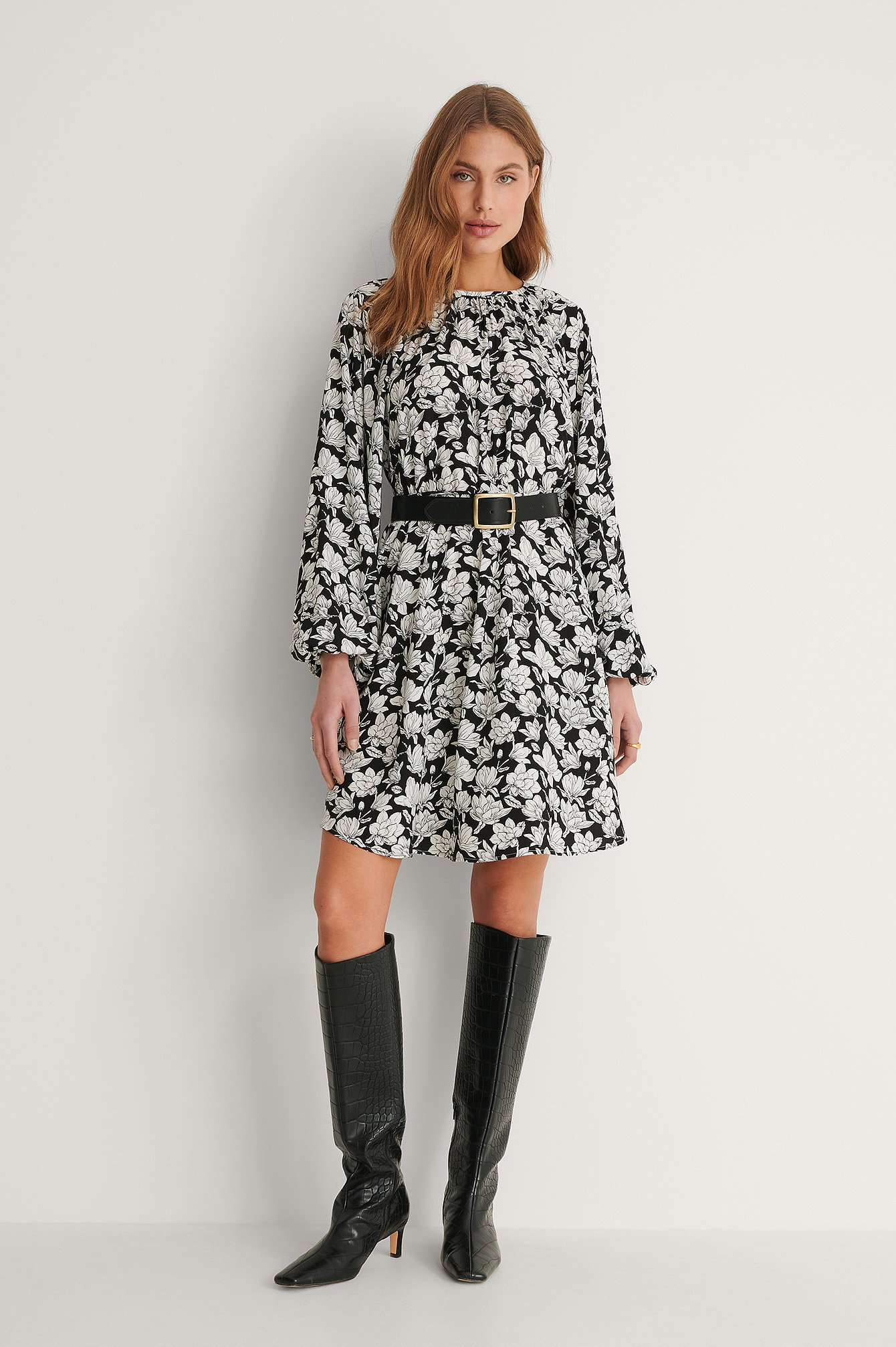 Graphic Magnolia Robe Col Rond