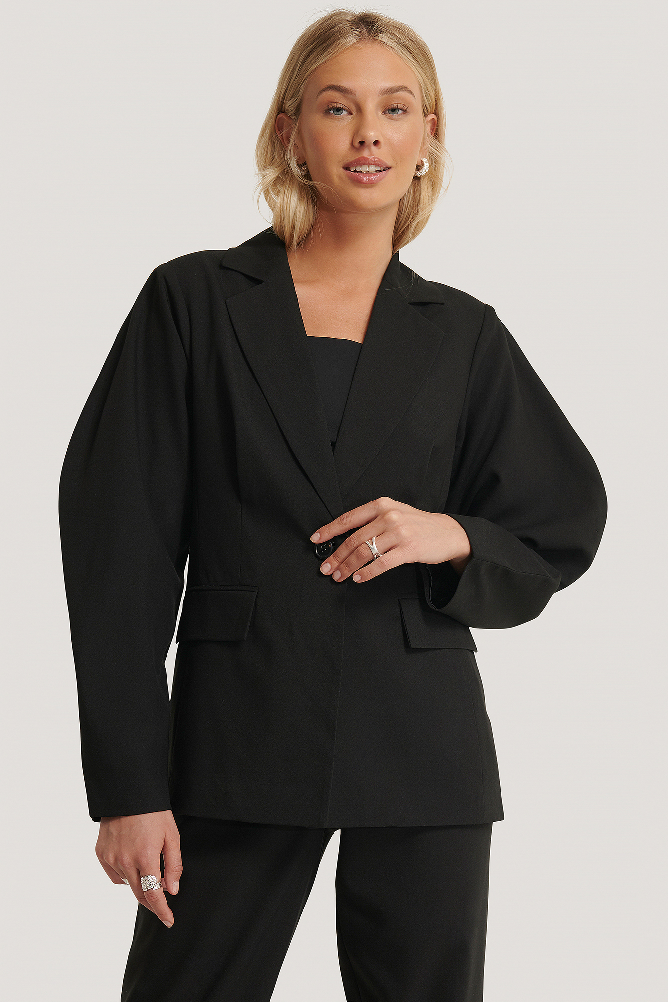 Black Rounded Shoulder Blazer