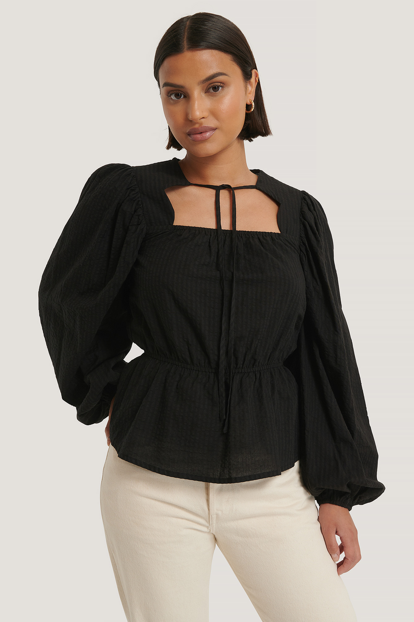 Black Scalloped Neckline Blouse