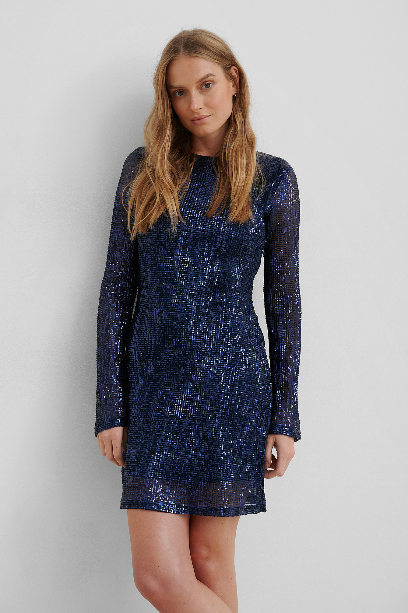 Dark Blue Sequin Round Neck Mini Dress