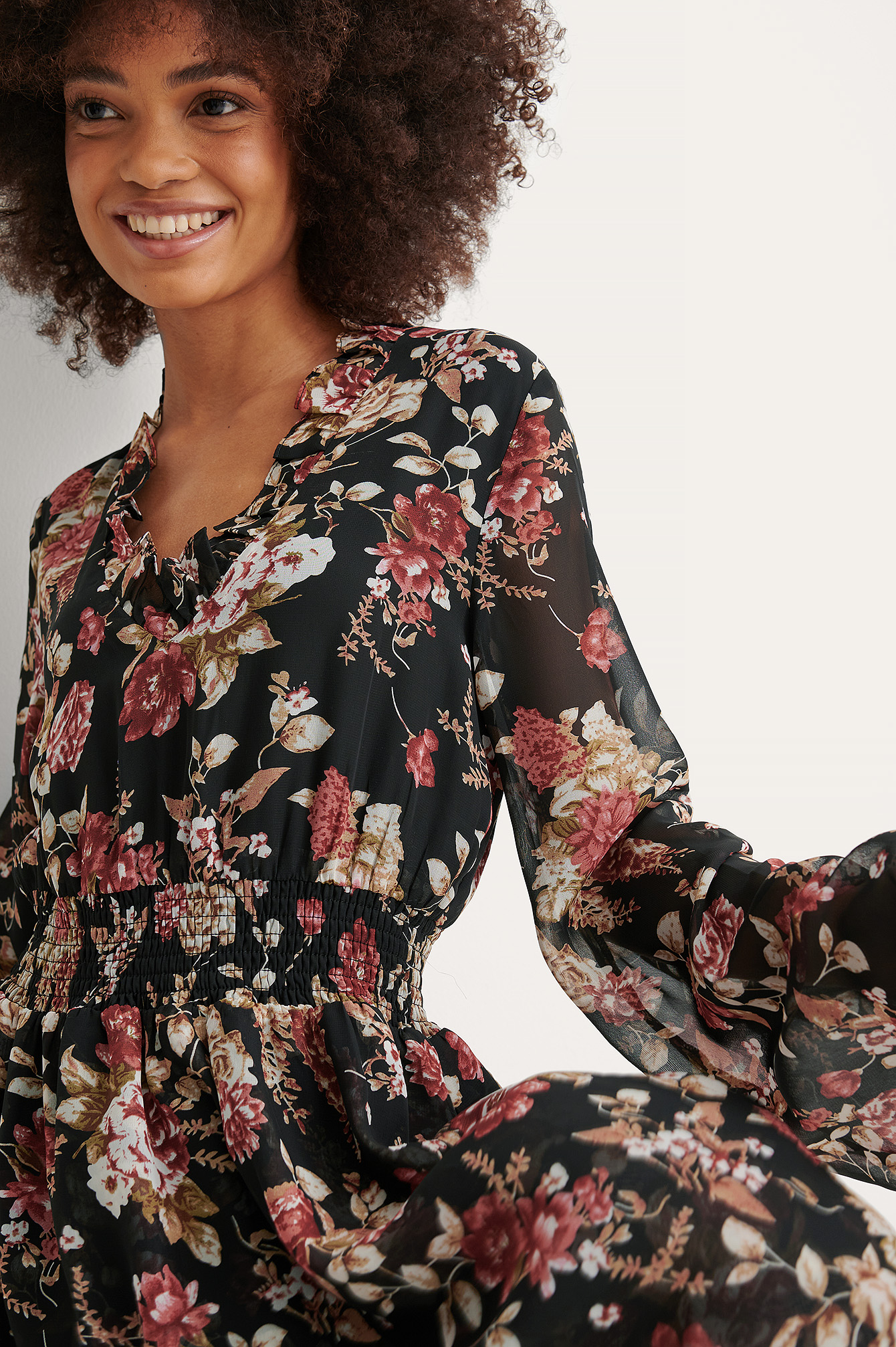 Black Flower Print Robe Froncée