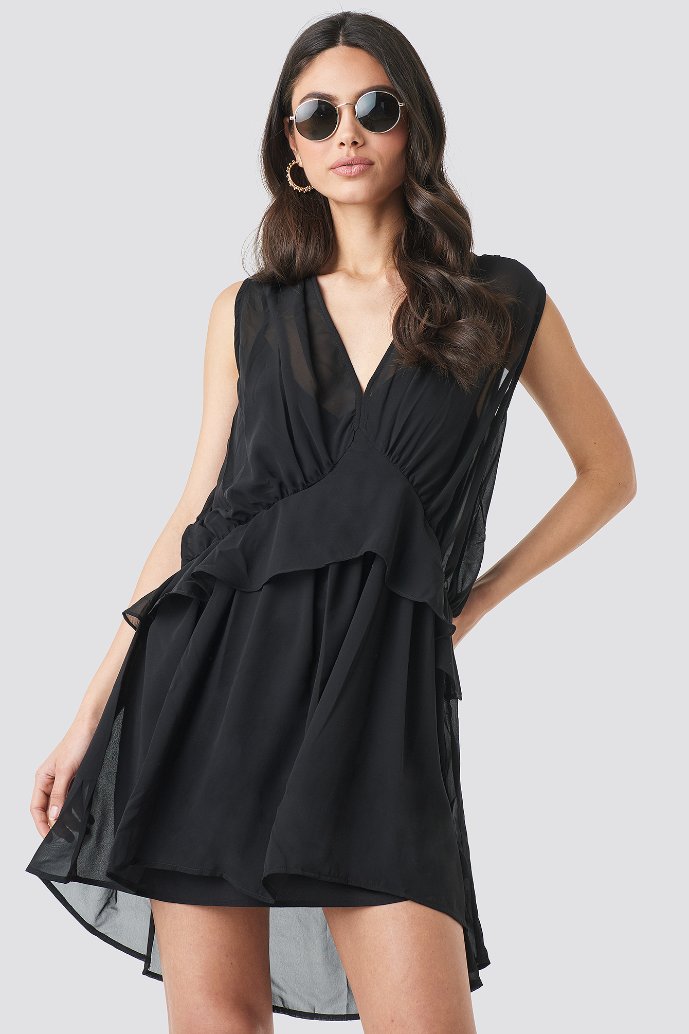 Black Short Chiffon Dress