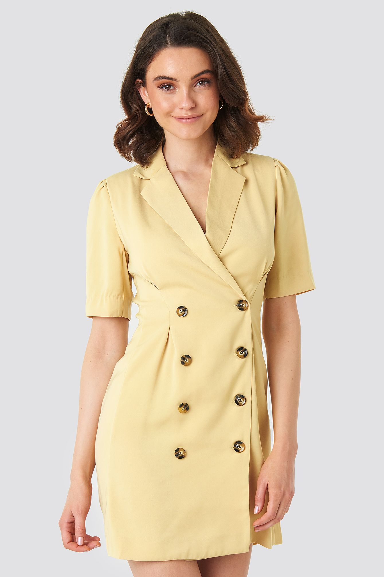 Light Yellow Short Sleeve Blazer Dress