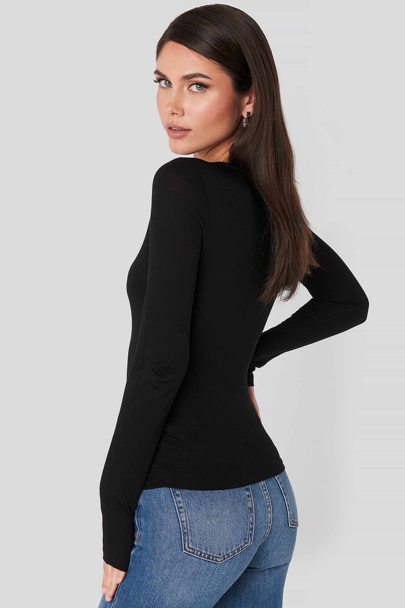 Black Side Ruched Long Sleeve Top