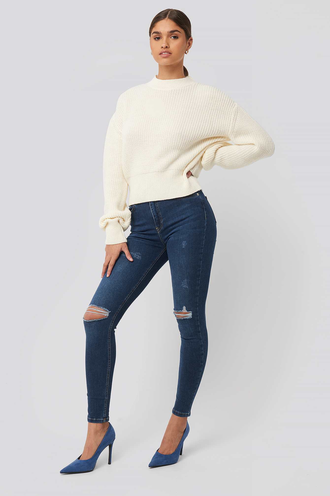 Dark Blue Skinny High Waist Destroyed Jeans