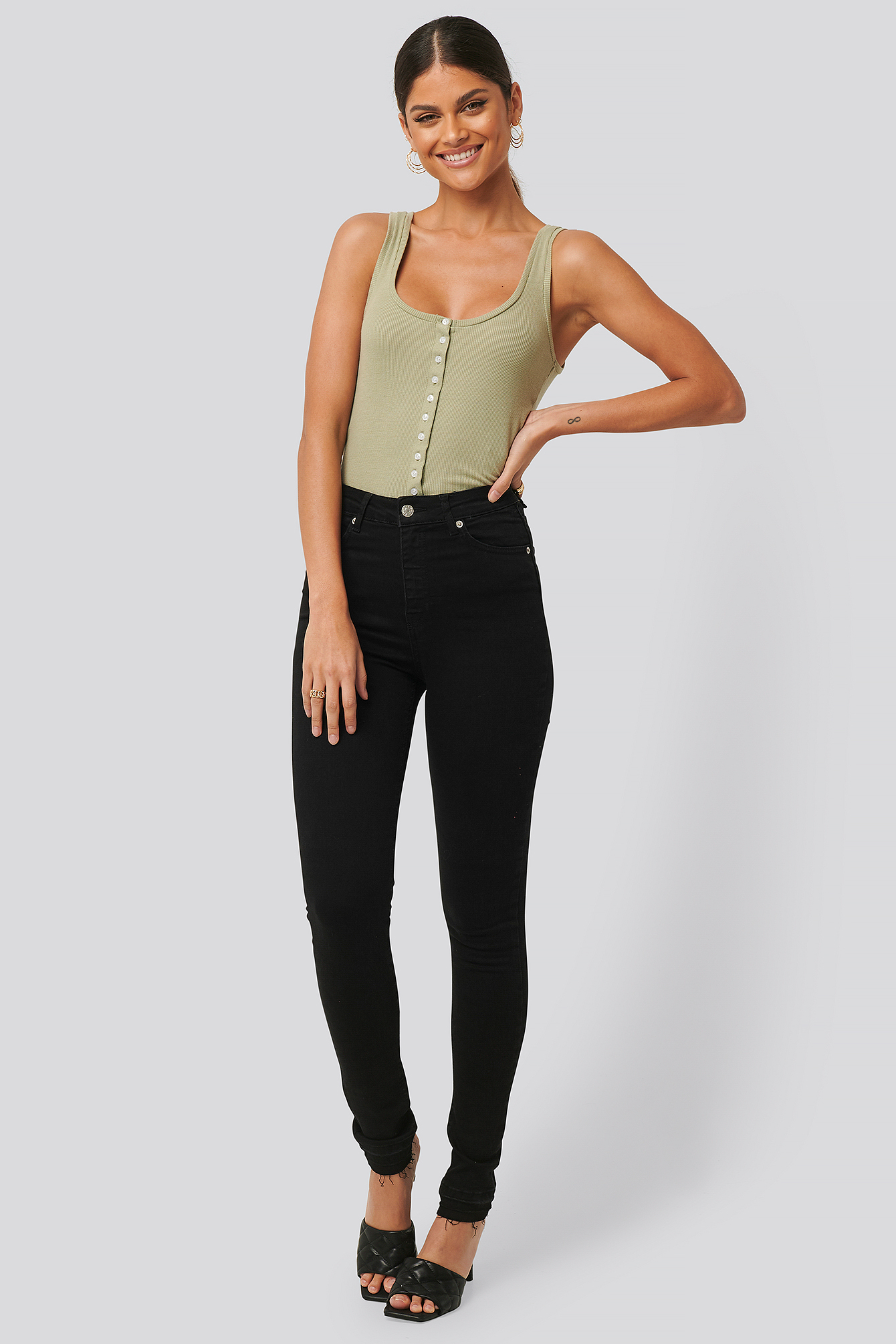 Black Skinny High Waist Open Hem Jeans Tall
