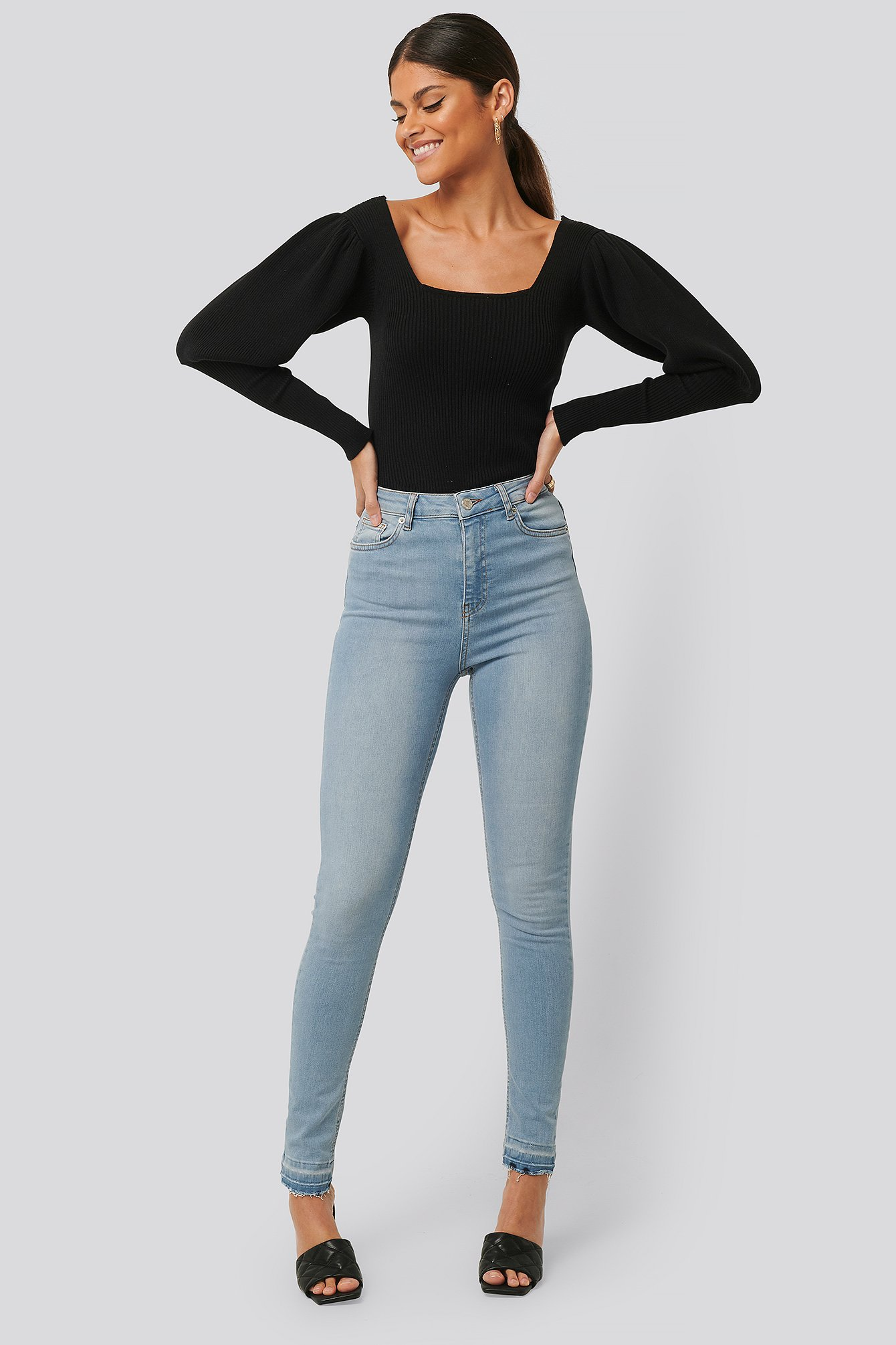 Light Blue Skinny High Waist Open Hem Jeans Tall