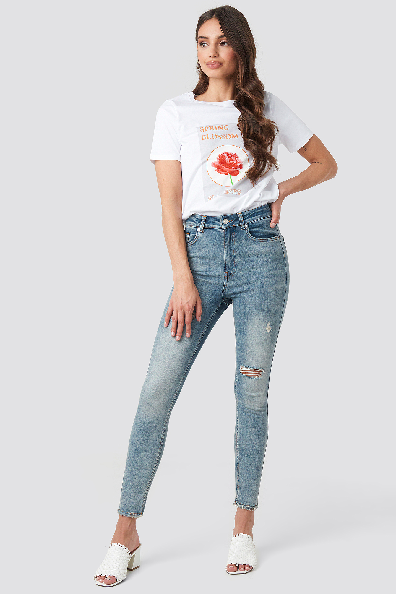 Washed Blue Skinny High Waist Worn Look Jeans